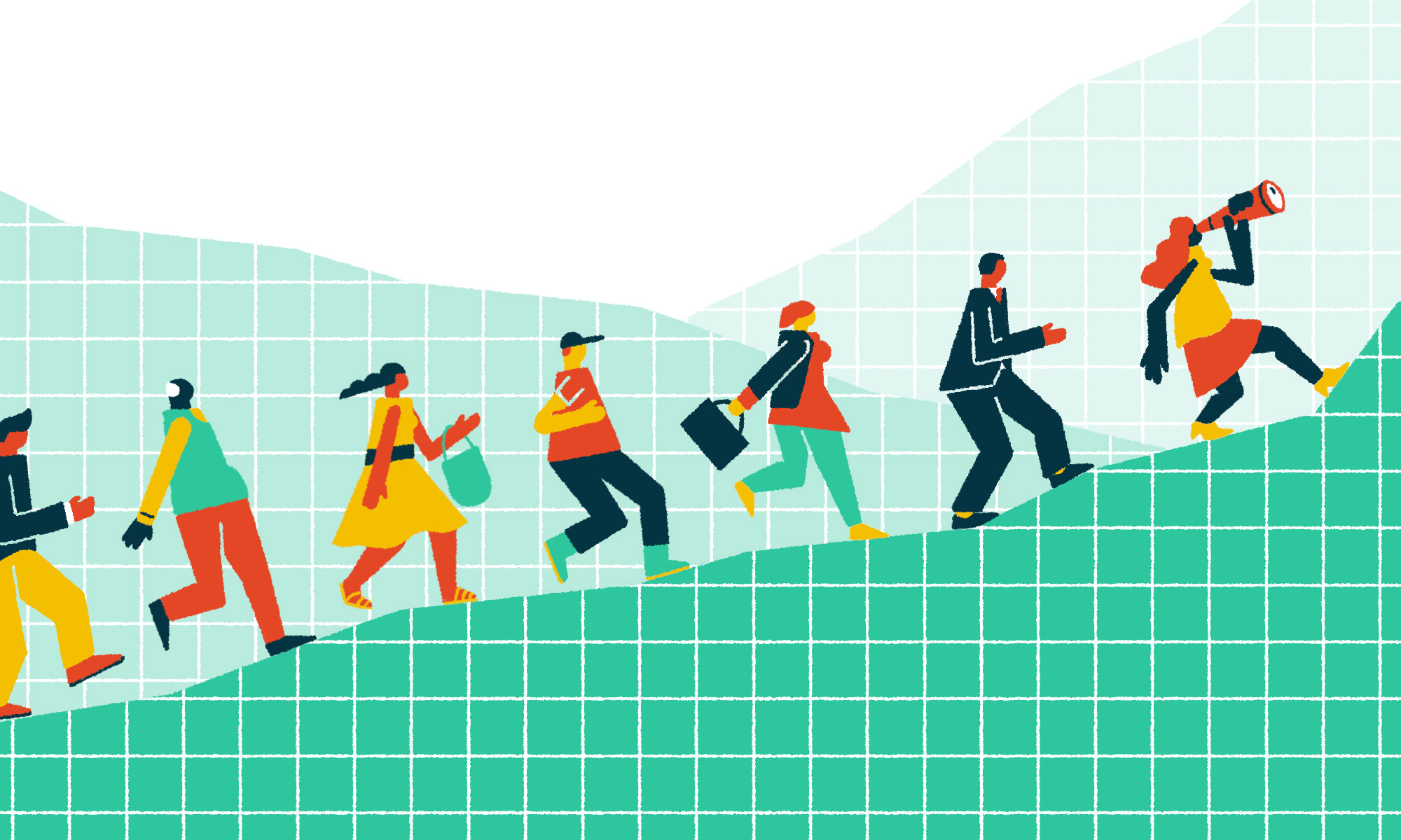 People walking up a graph - they are the future business woman and man of this world.
