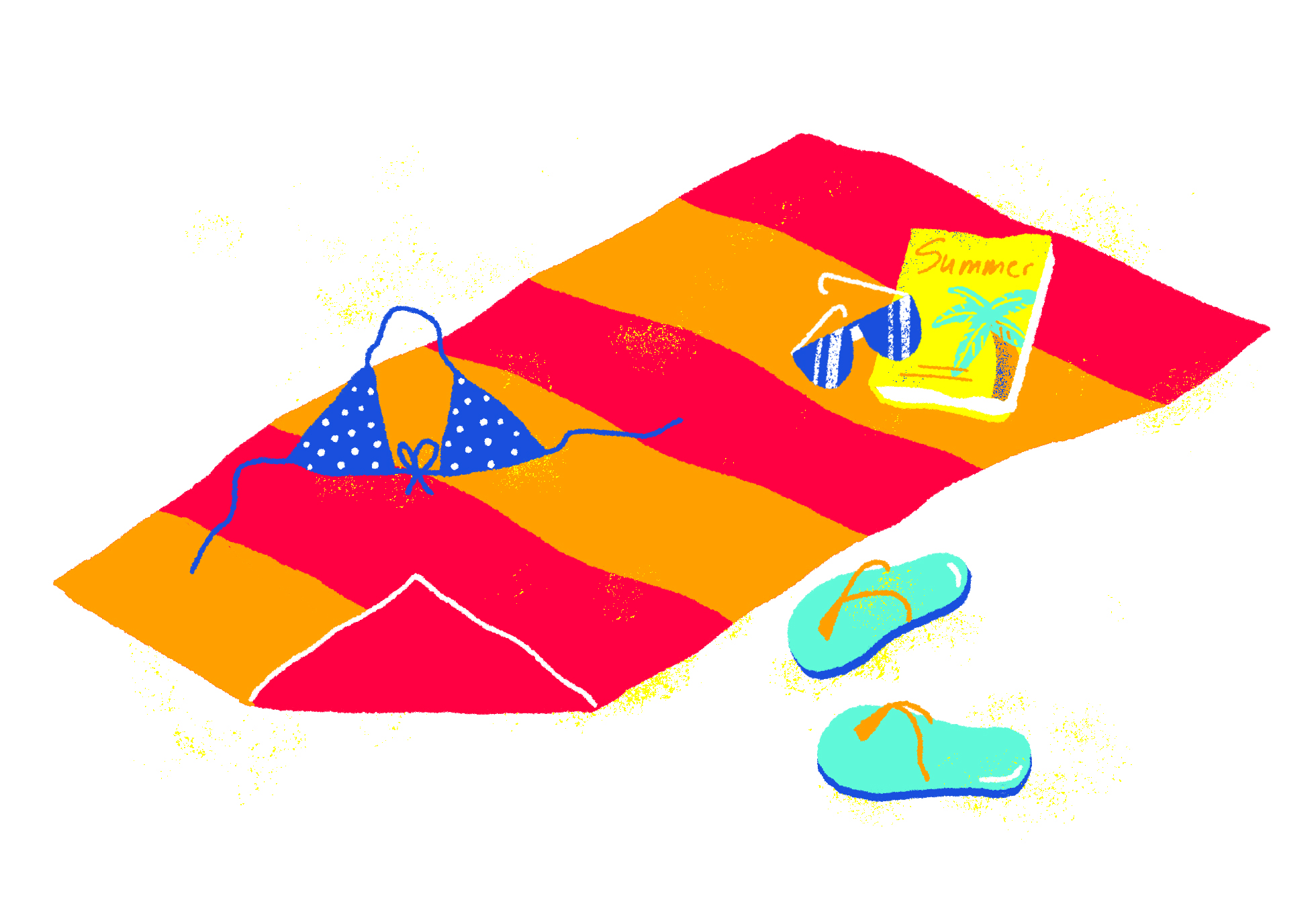 Beach towel with a bikini top, sandals, sunglasses and a book