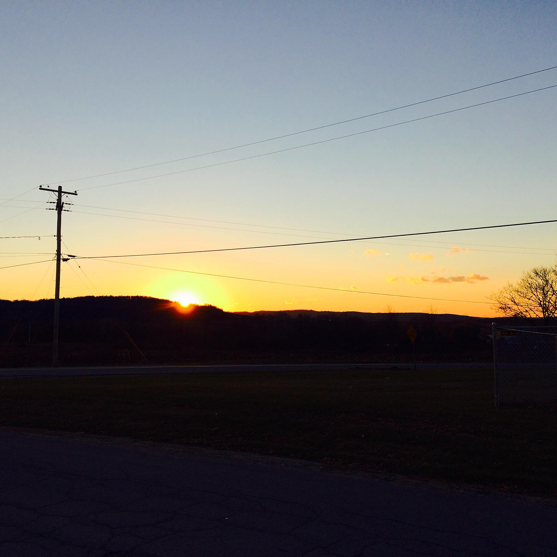 Sunsets over Bullshead Road, where we both grew up.
