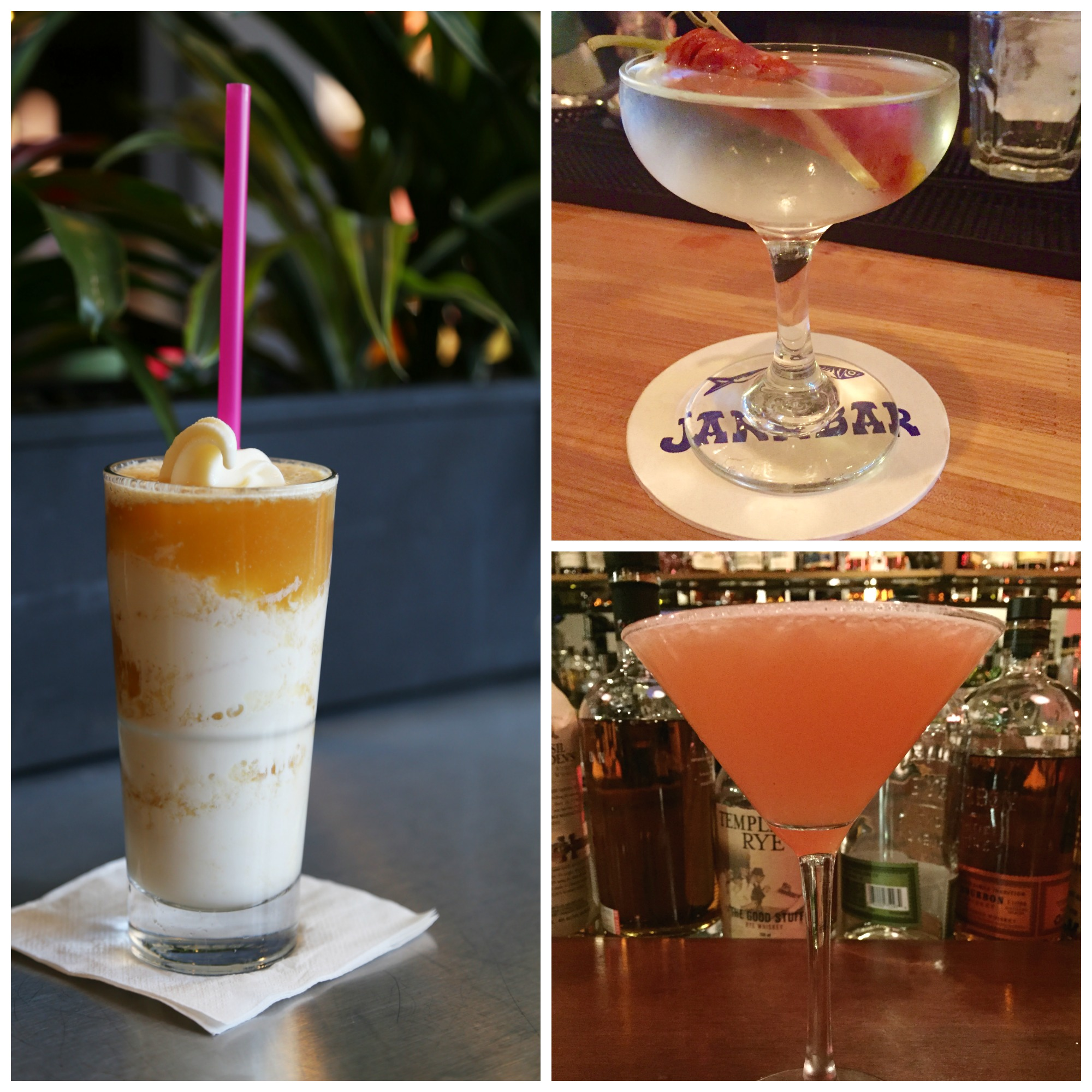 Left: Rachel's Ginger Beer Boozey Float, Top Right: Jarr Bar El Cochino, Bottom Right: Place Pigalle La Salle