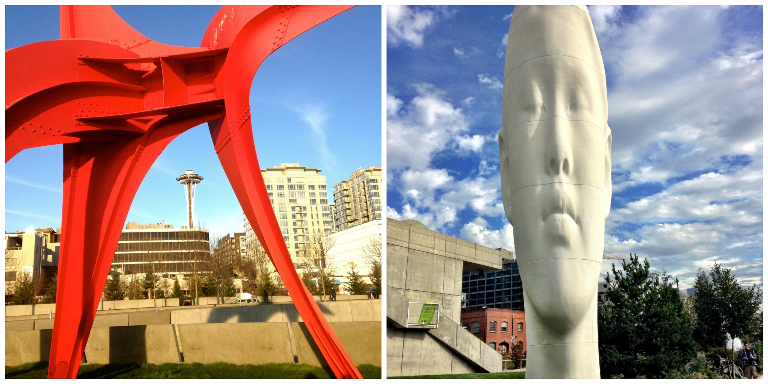 Left: Eagle by Alexander Calder. Right: Echo by Jaume Plensa.