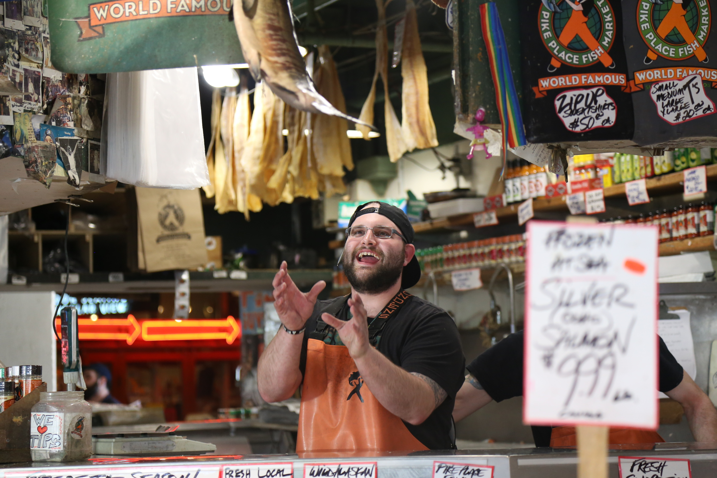 Watching the guys throw fish is one of our favorite things to do at the market.