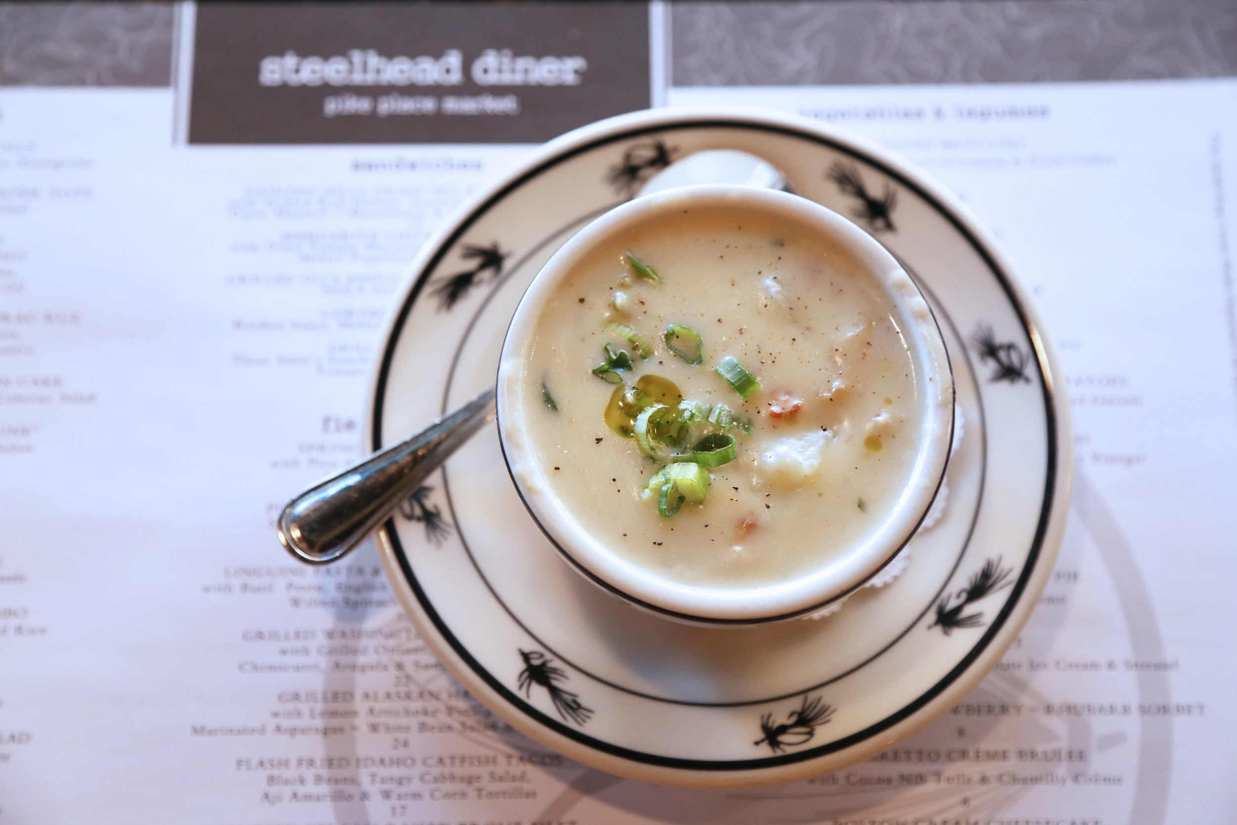 The clam chowder at Steelhead Diner is a must-try.