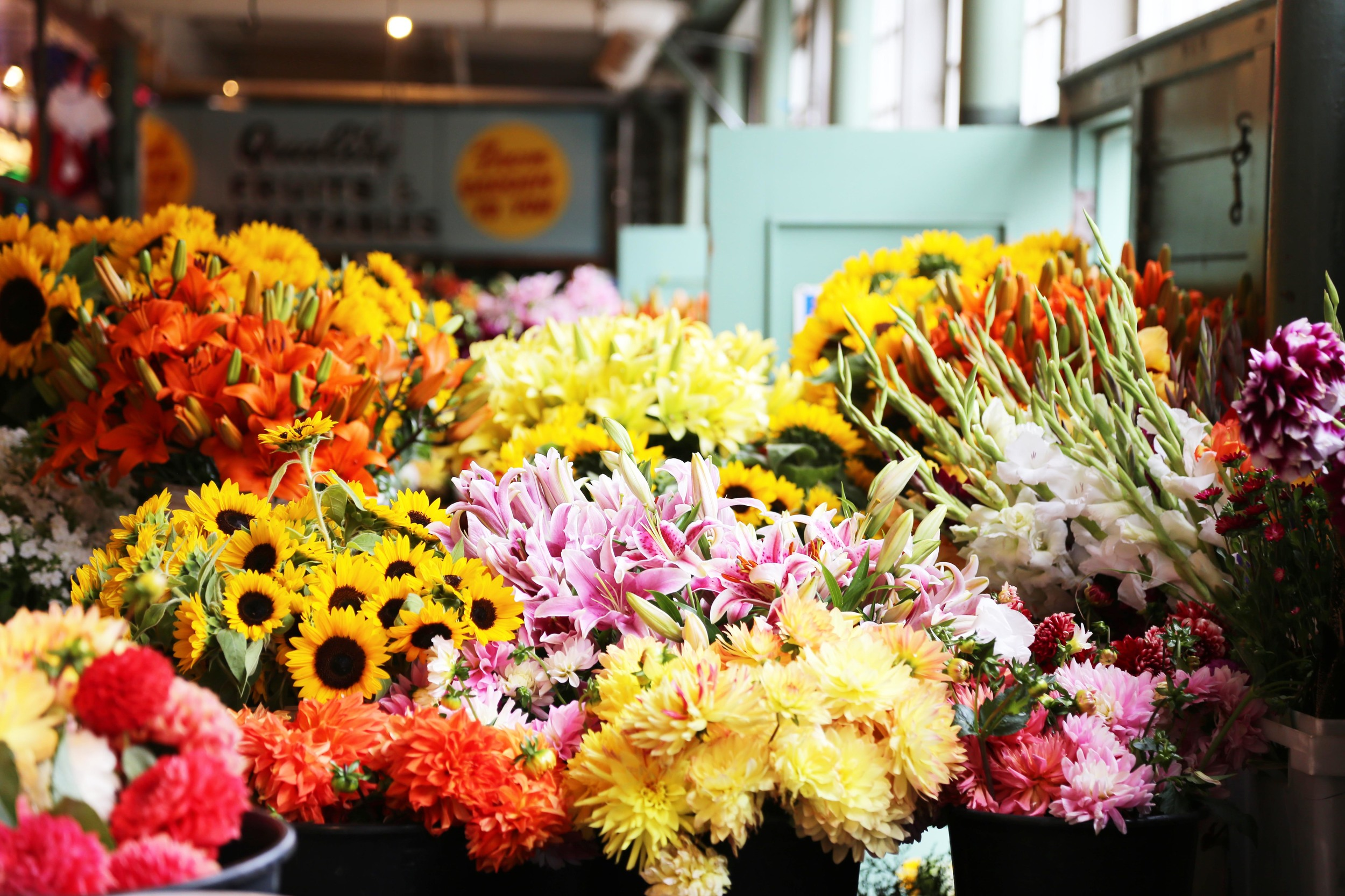 Flowers at Pike Place are a cheap, but beautiful bouquet choice!