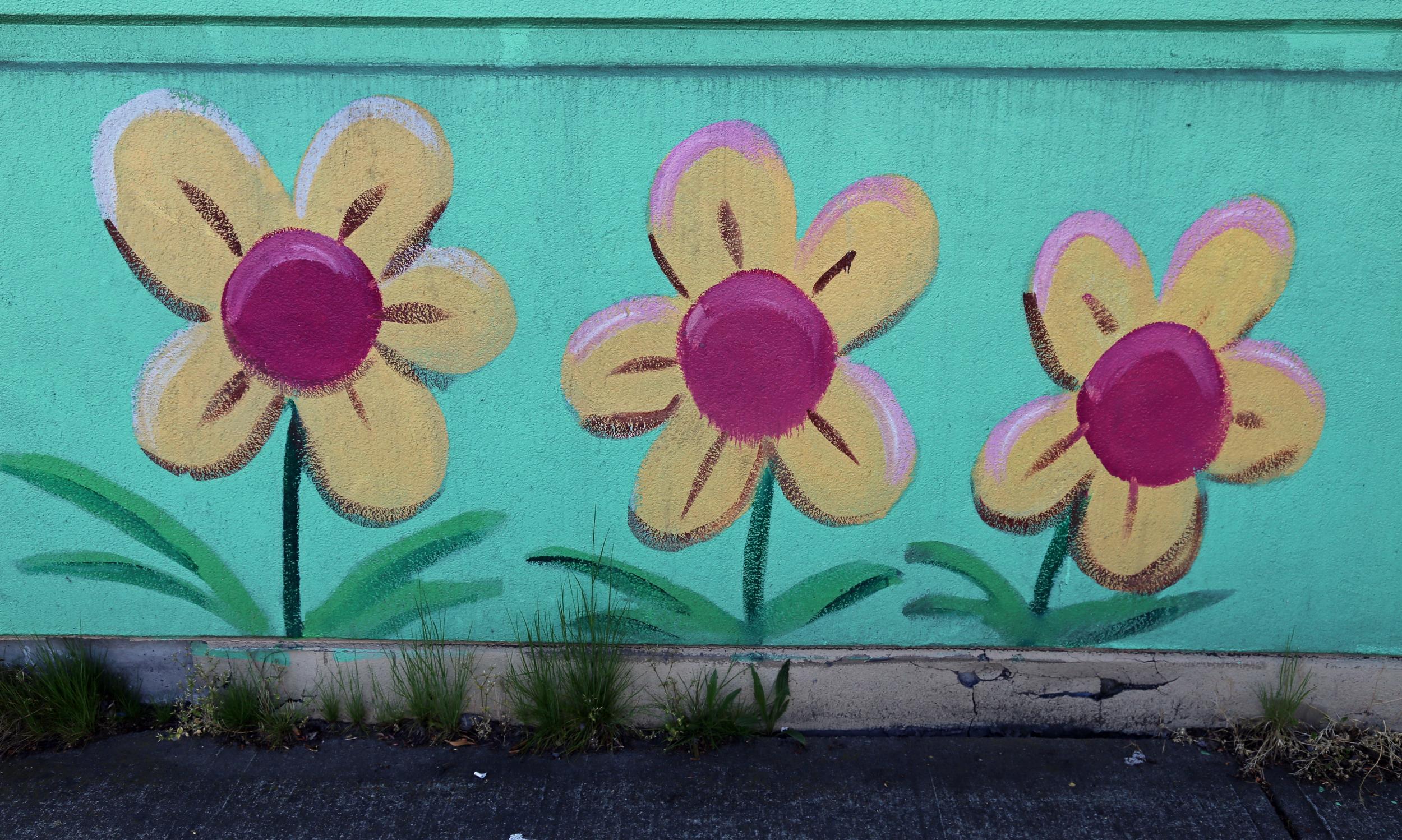 Flower details at the Value Village mural