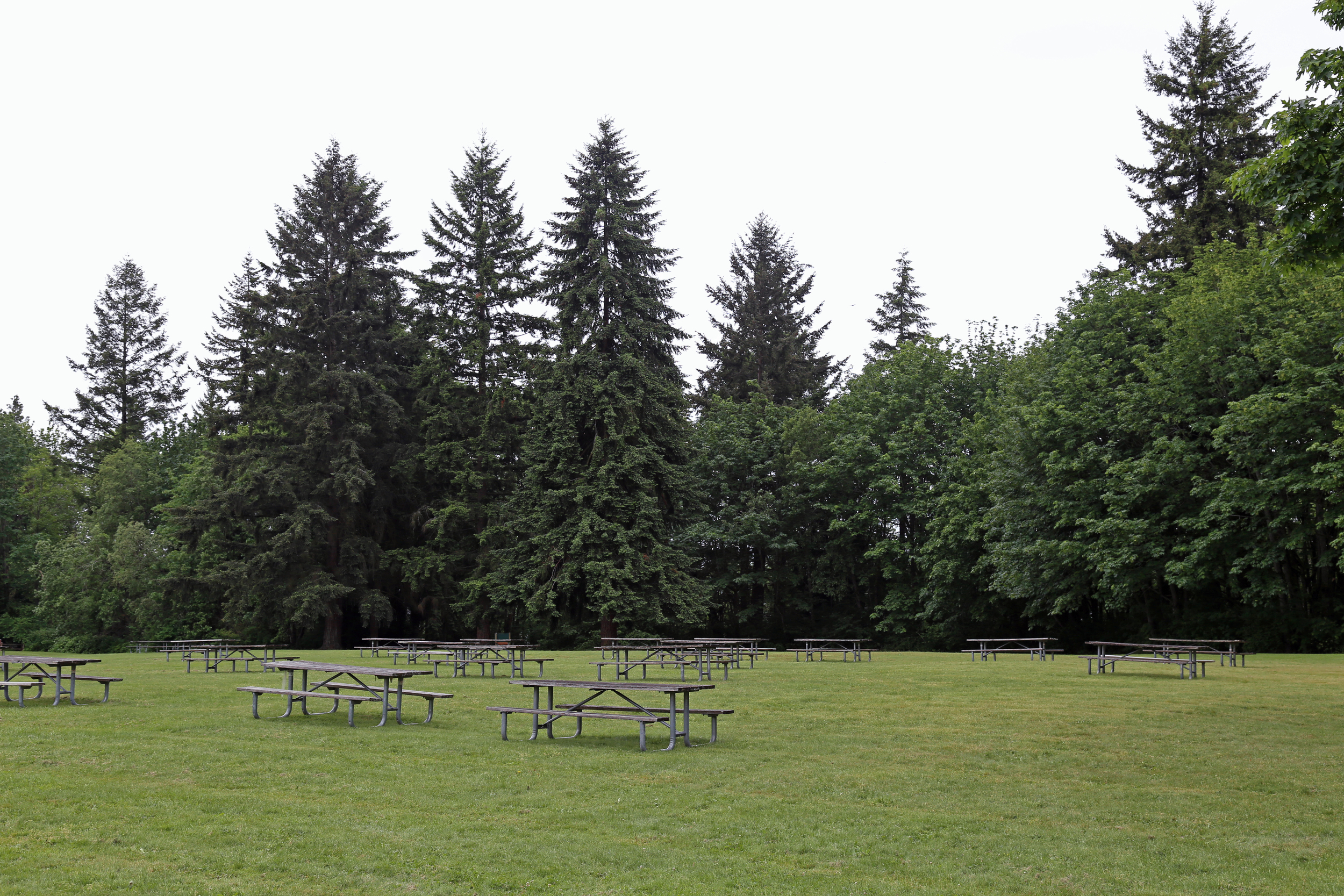 Picnic tables line the grounds.
