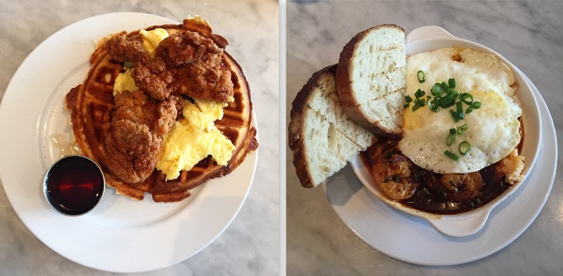 Chicken and waffles/Shrimp and grits at Restaurant Roux