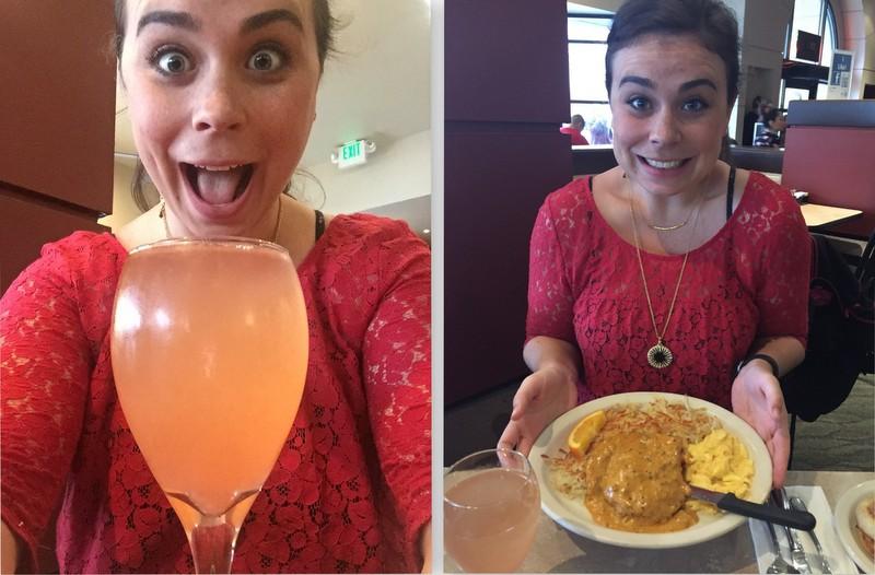 The rose mimosa and chorizo gravy at CJ's