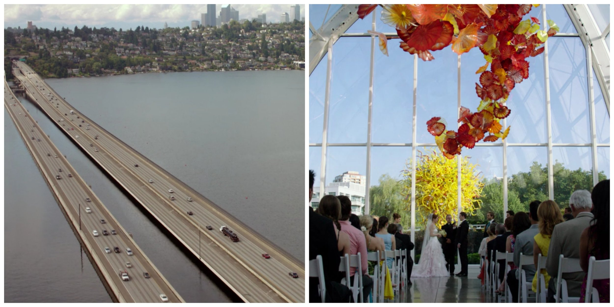 Left: I-90 Bridge, Right: Chihuly Garden and Glass