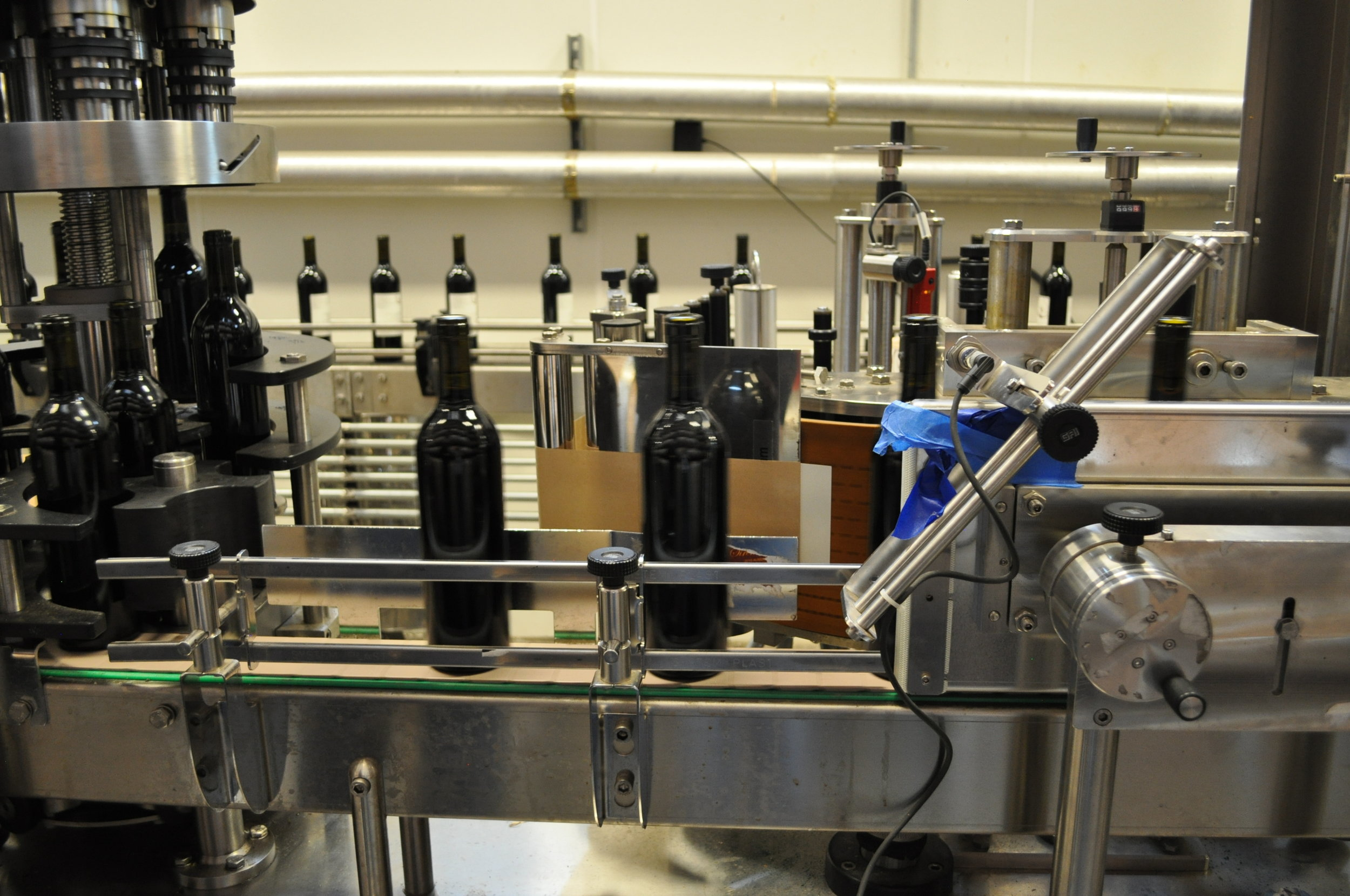 Full bottling line at Almquist Family Vintners