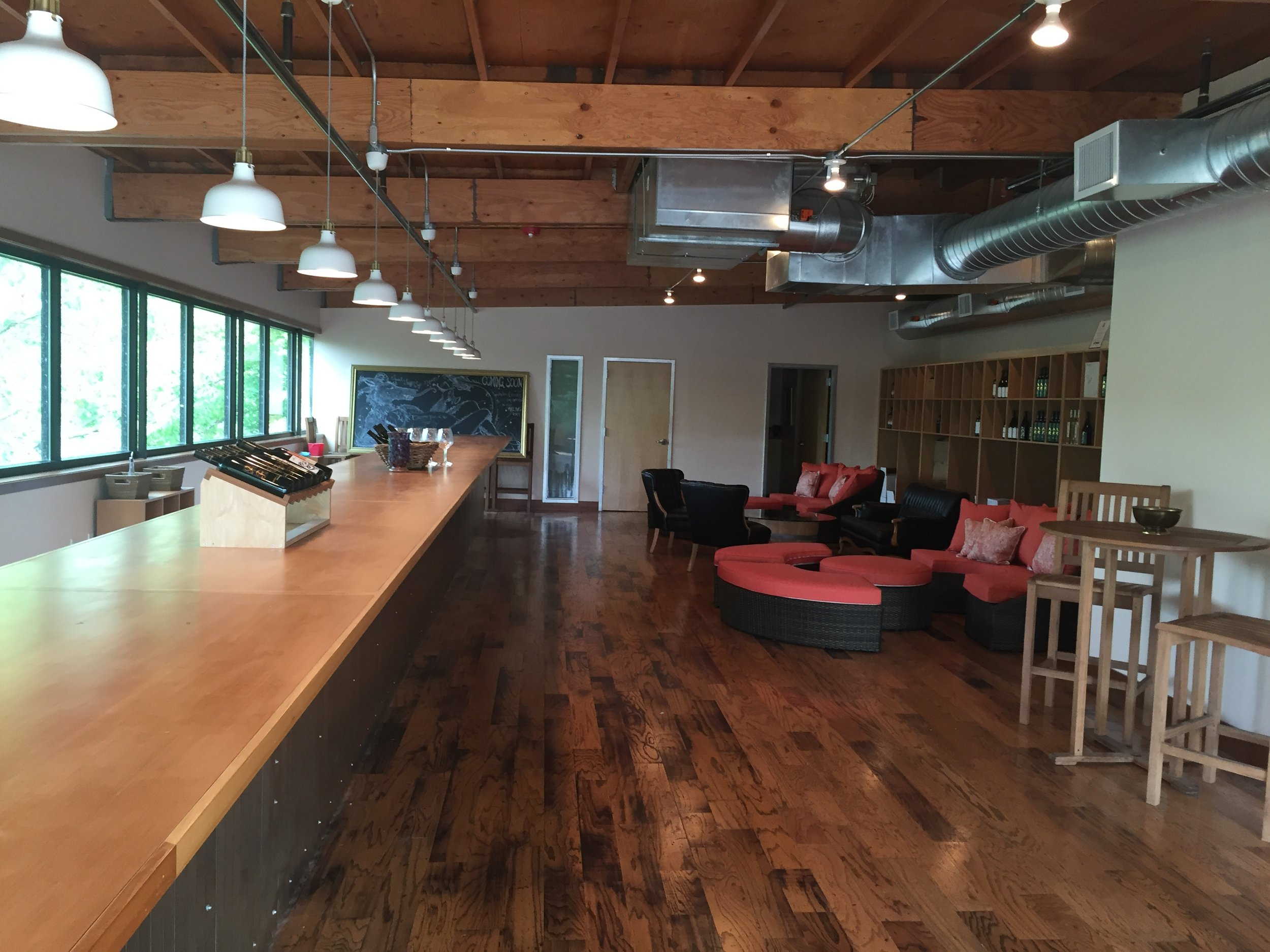 Nearly open: The upstairs tasting room at Almquist Family Vintners