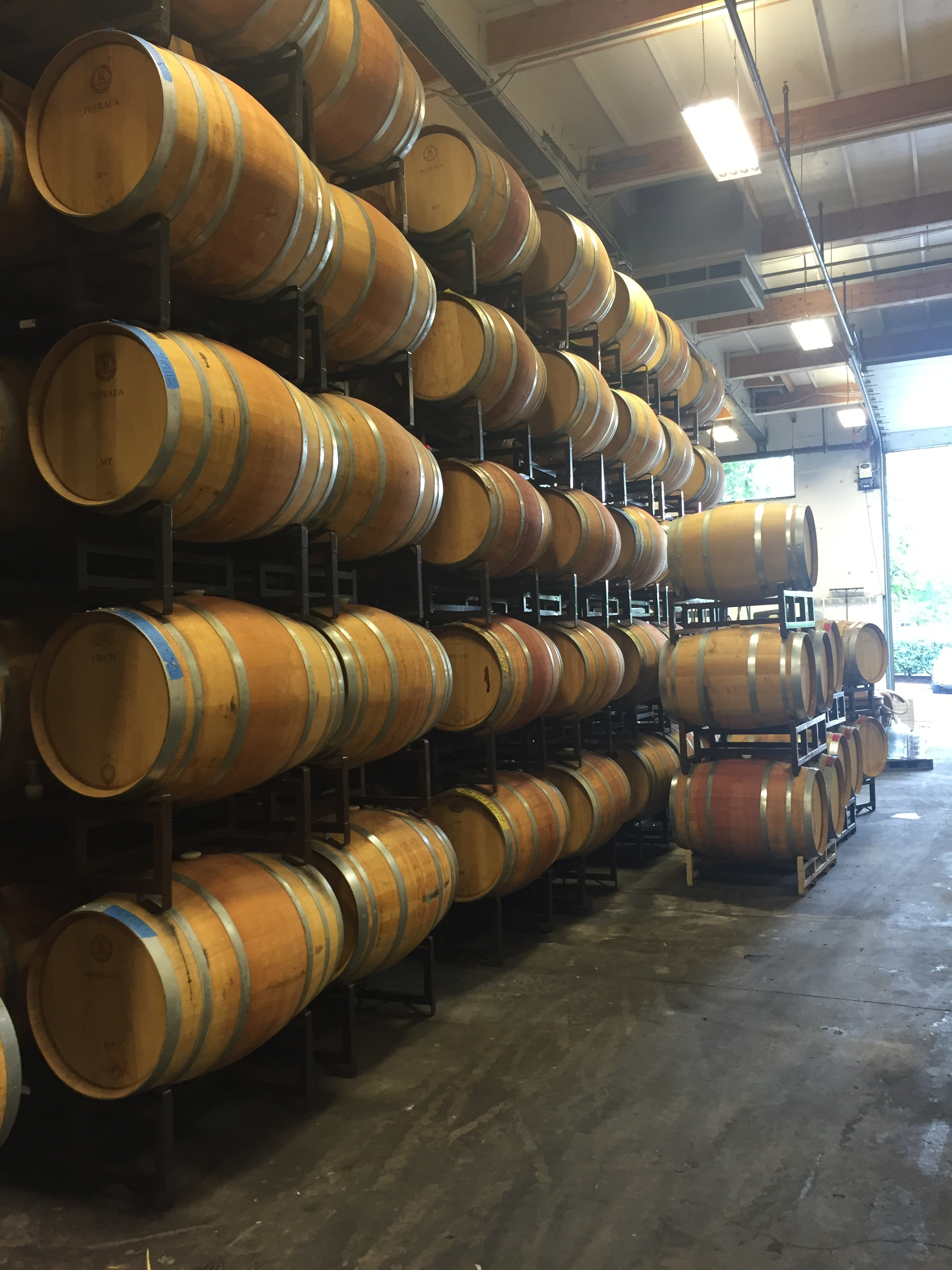 Barrel storage and aging at the Almquist Family Vintners facilities