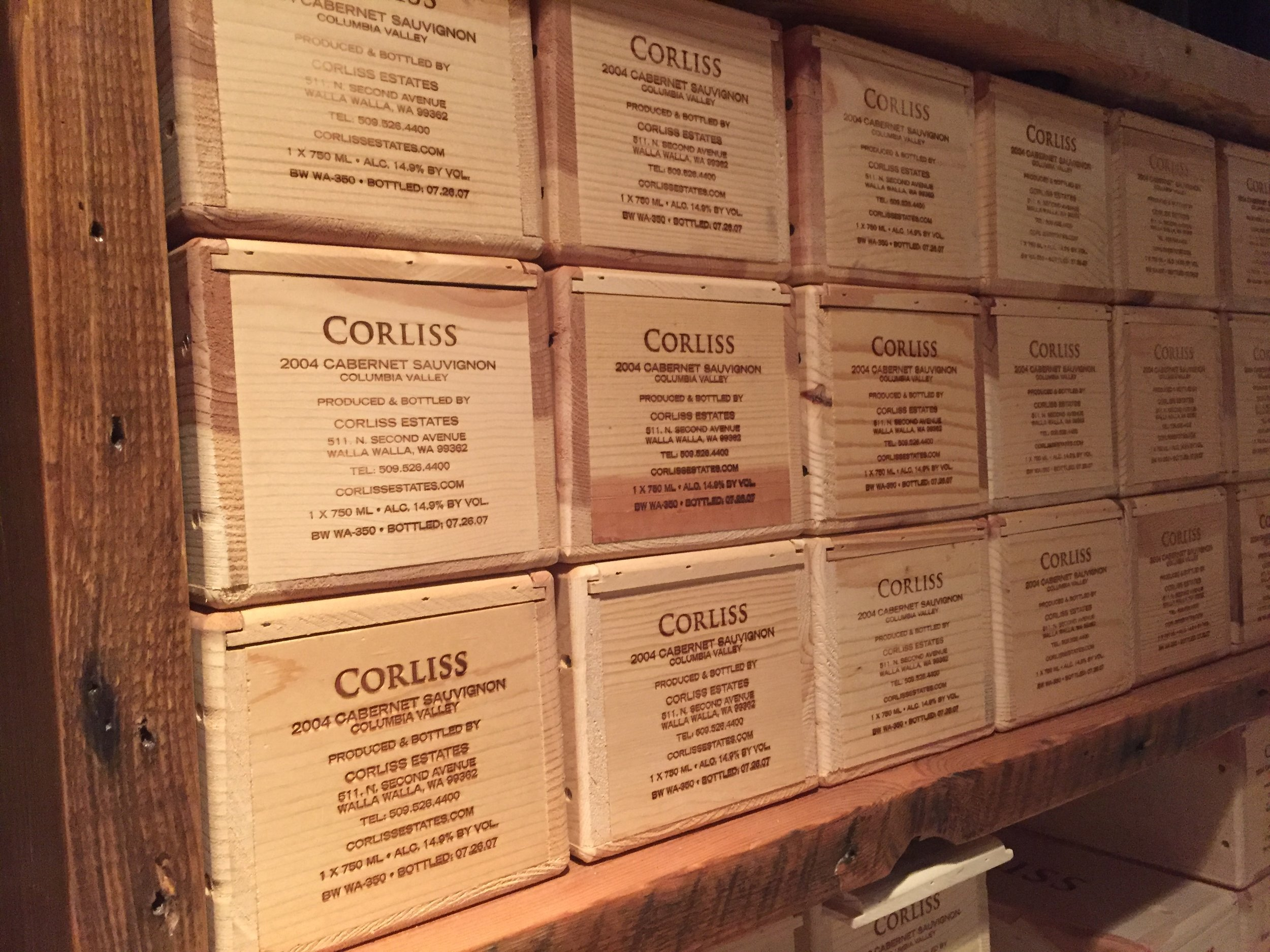 Corliss Estates keeps its back library down in its own wine cave cellar below the facility.