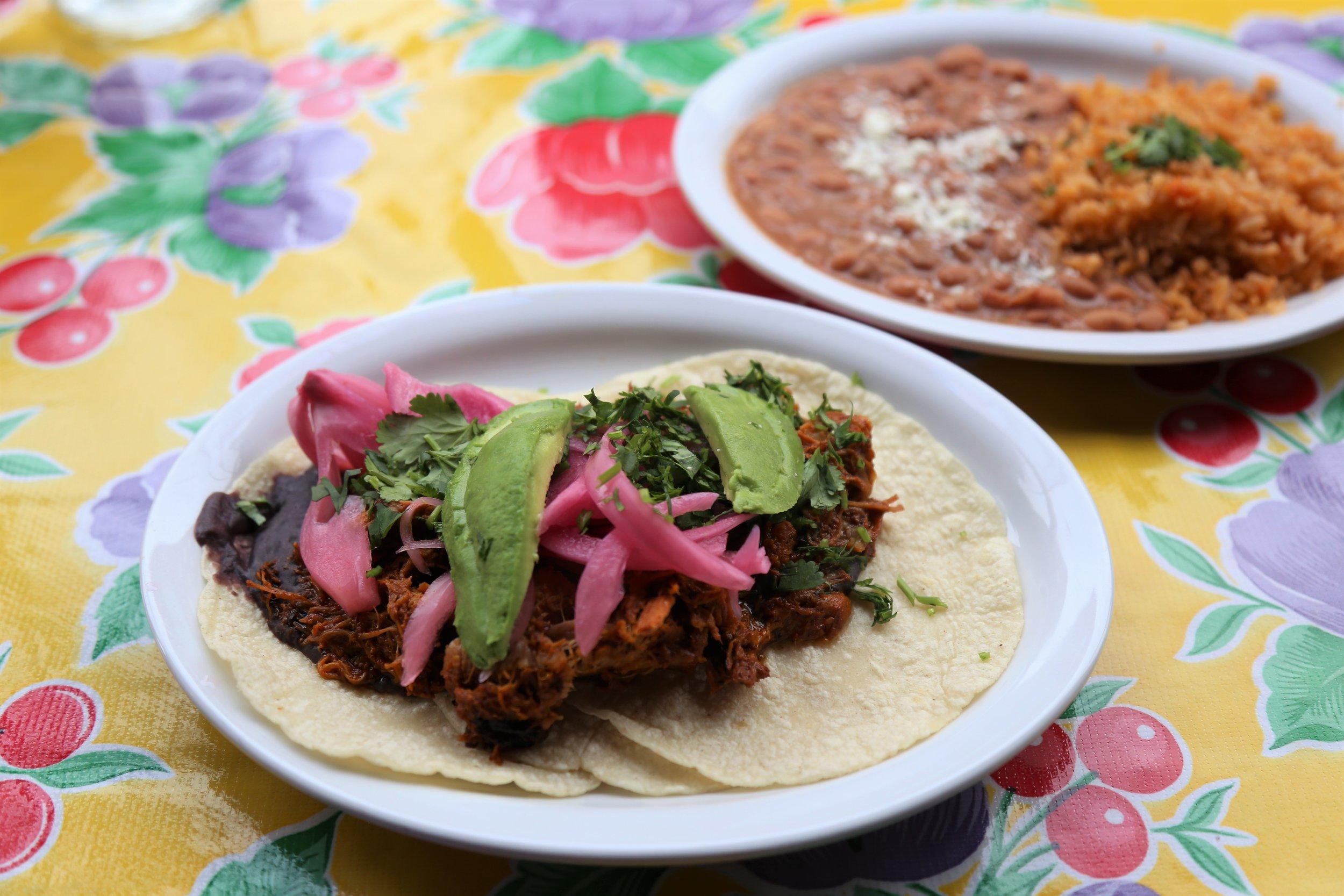 Pork tacos from Fonda La Catrina