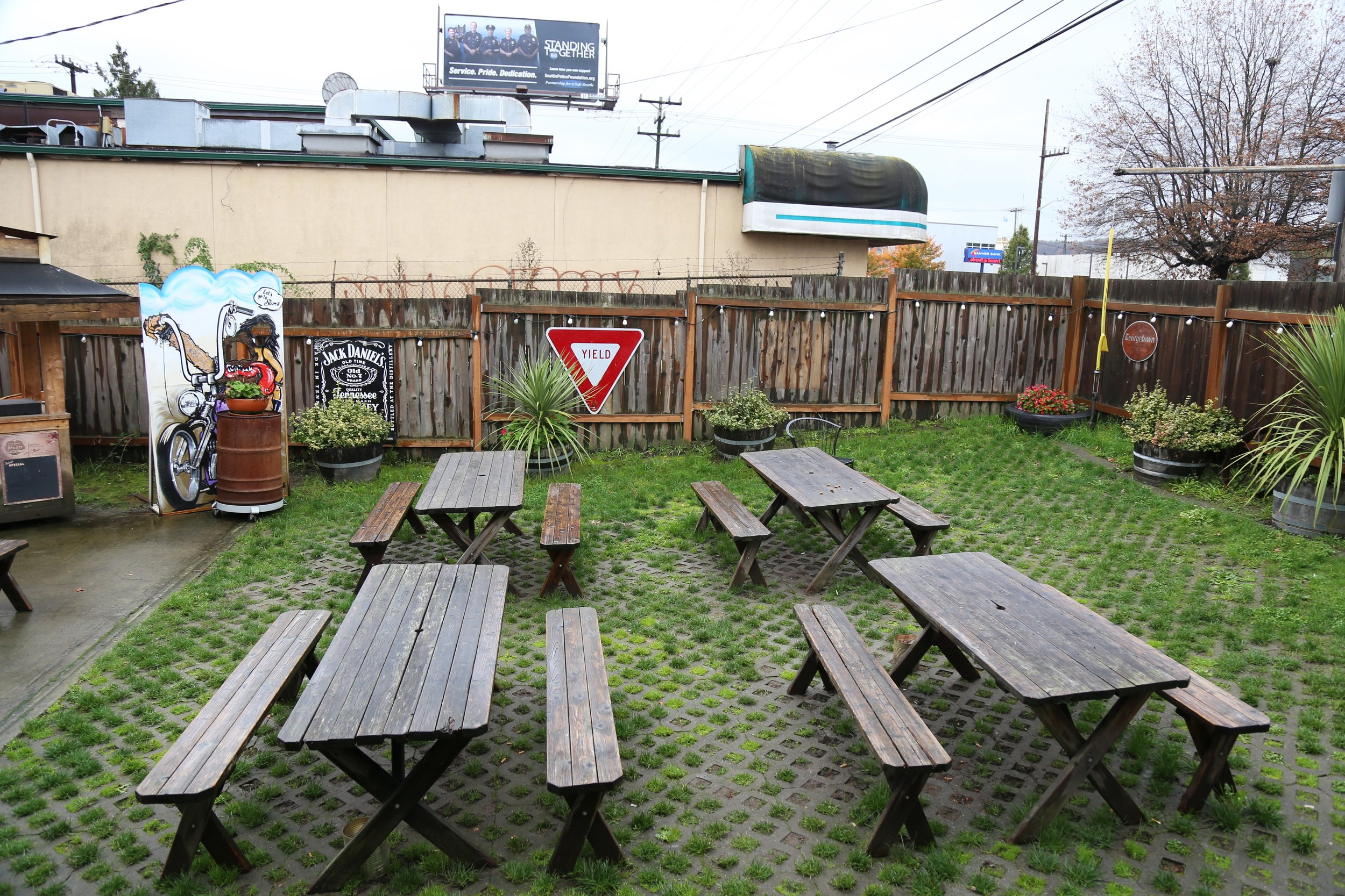 Slim's awesome outdoor seating (with a stage!)