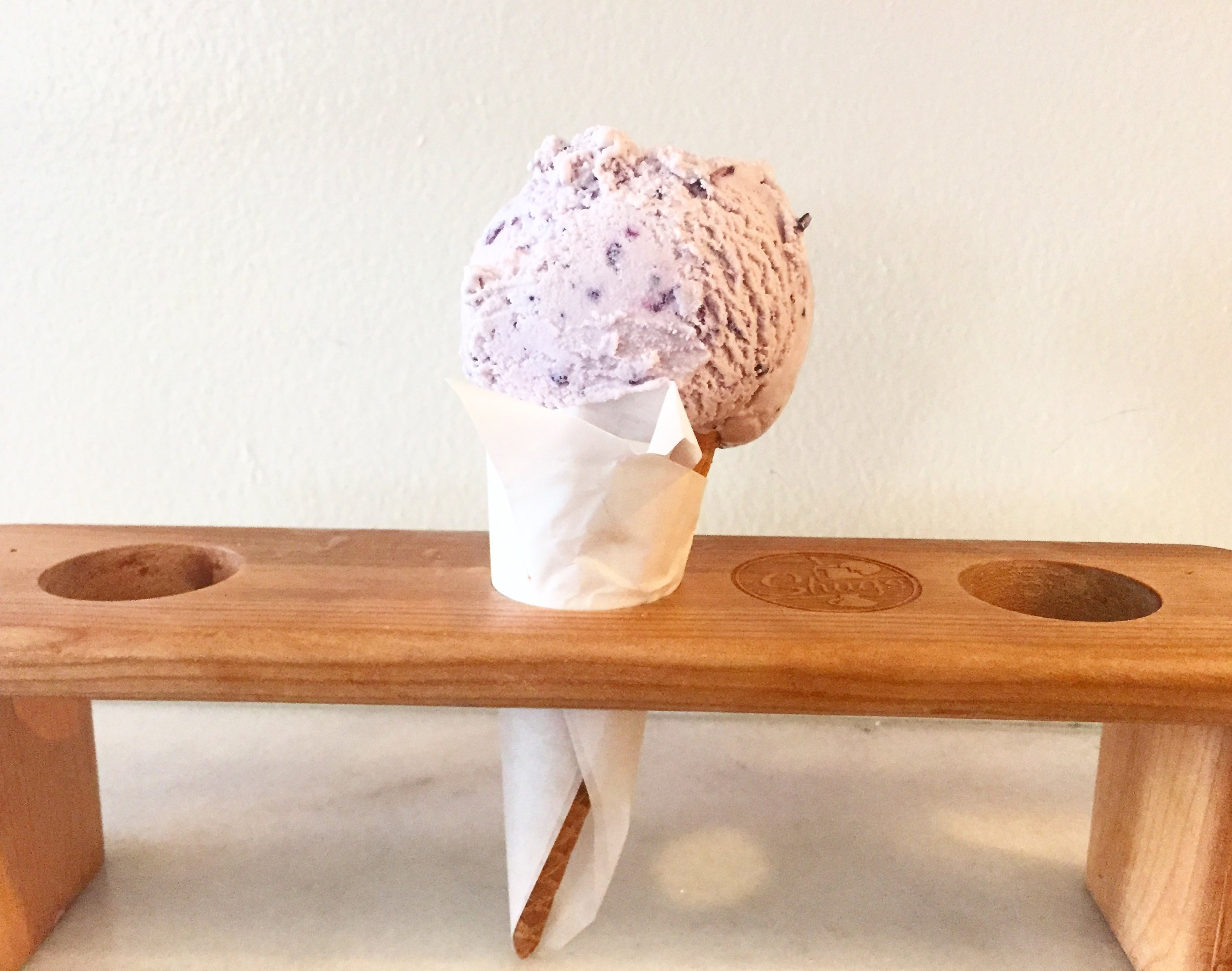 Huckleberry ice cream from Shug's - purple, creamy, mouthwatering goodness.