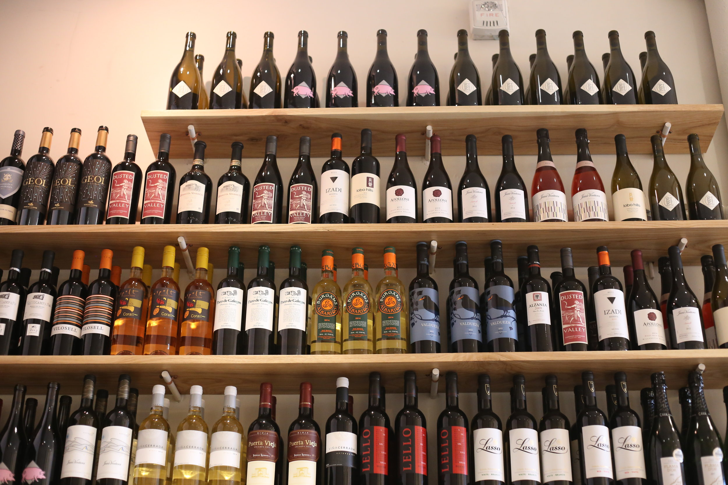The curated wine selection at JarrBar