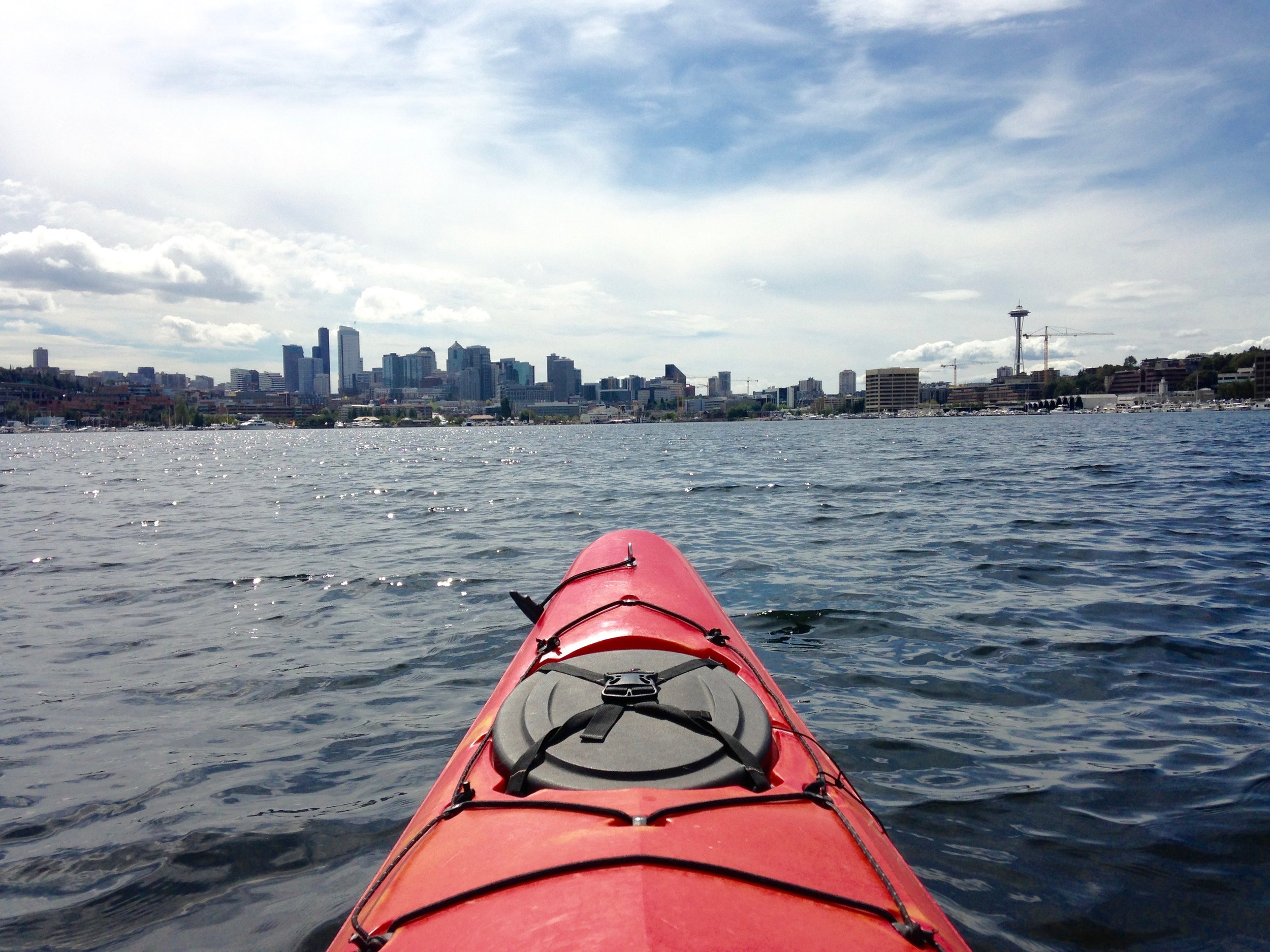 Nice views of Downtown Seattle and the Space Needle can be viewed from the comfort of your own kayak on Lake Union.
