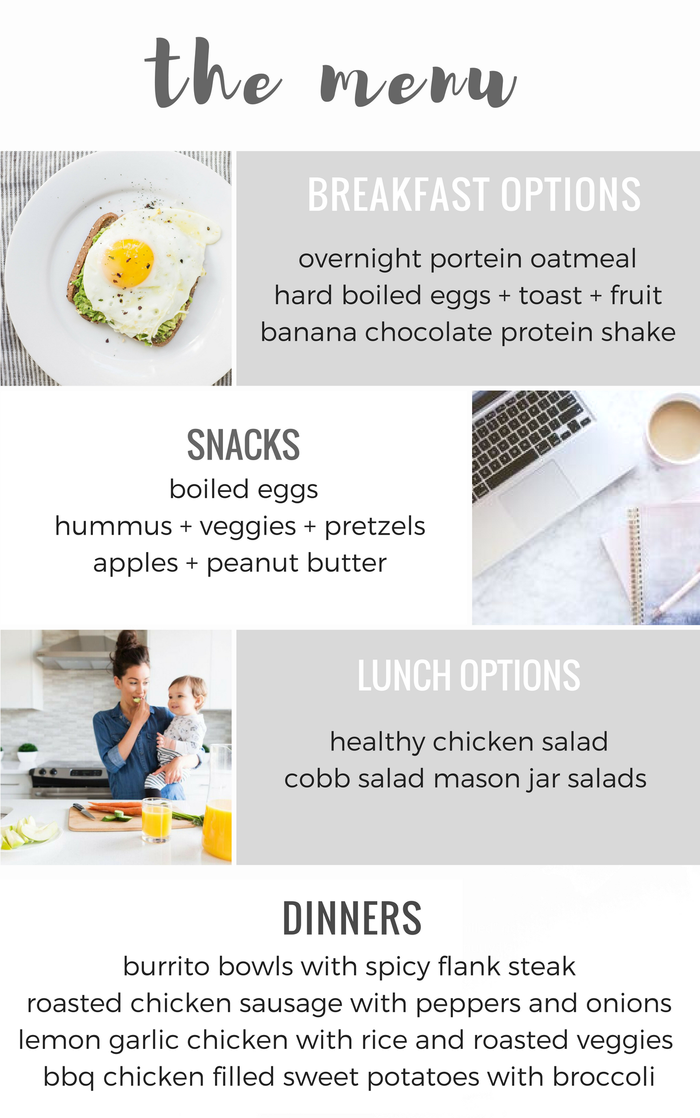 Healthy Menu and Shopping list for the busy mom.. 7 day menu and grocery list for the busy family