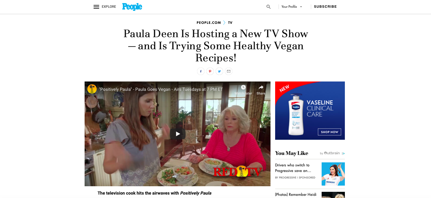 People.com - Digital - Paula Deen Is Hosting a New TV Show - and Is Trying Some Healthy Vegan Recipes!January 2018