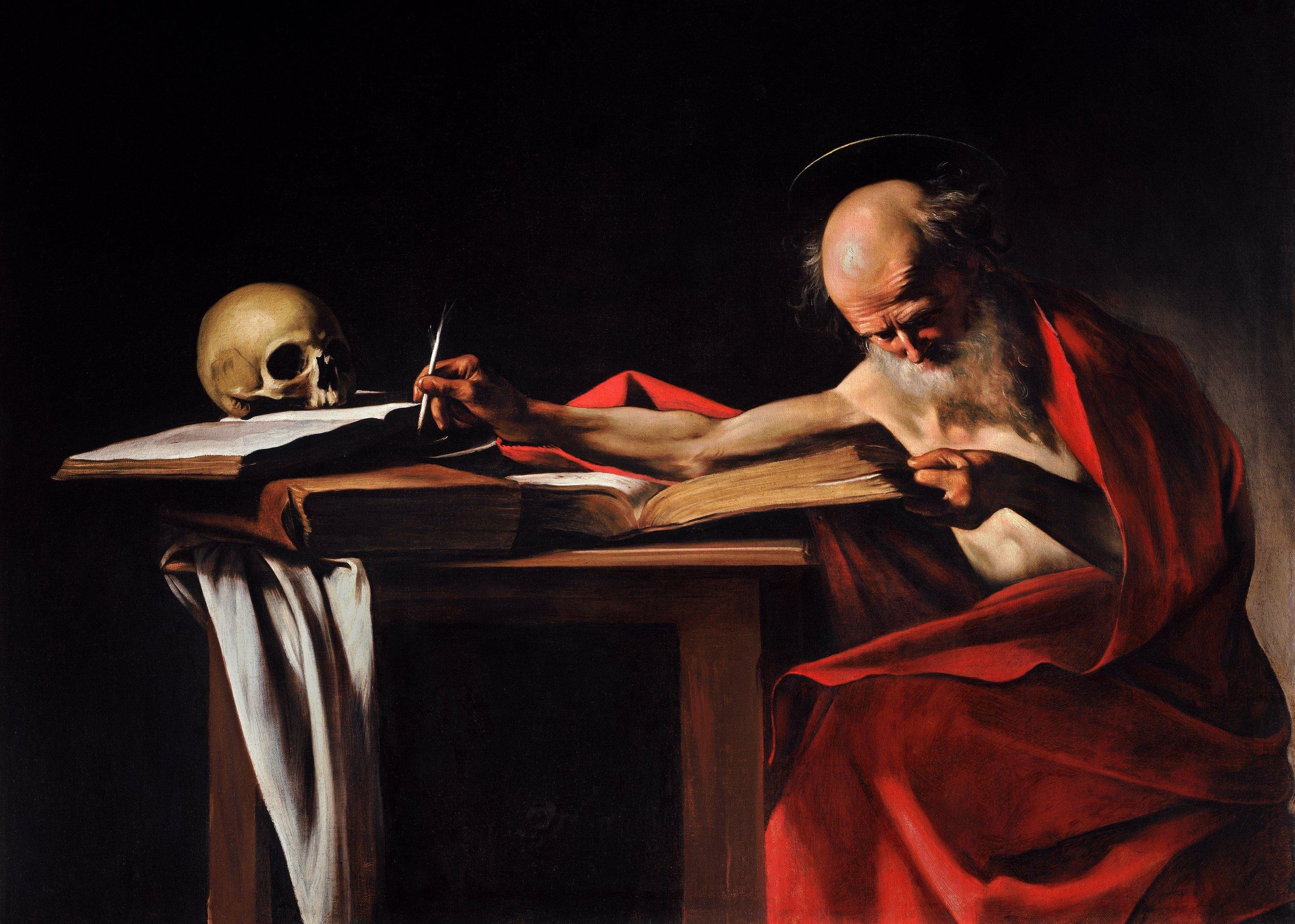 Caravaggio.  Saint Jerome Writing,  c. 1605