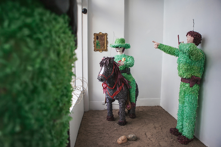"""""""Western American Posse for the People. A phenomenal Order of Historical yet Dissimilar Expressions of Artistic and Social Considerations.""""  Patrol Guard Piñatas 73"""" x 22"""" (Guards) 71"""" x 50"""" x 22"""" (Mounted Guard)"""