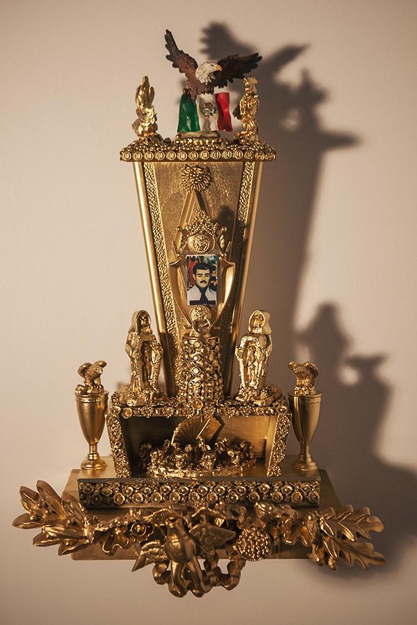 """Trophy #4 -- Death Looks Brilliant All Wrapped in Gold""  25 1/2"" x 13"" w/o shelf, 32"" x 19 1/2"" w/shelf"