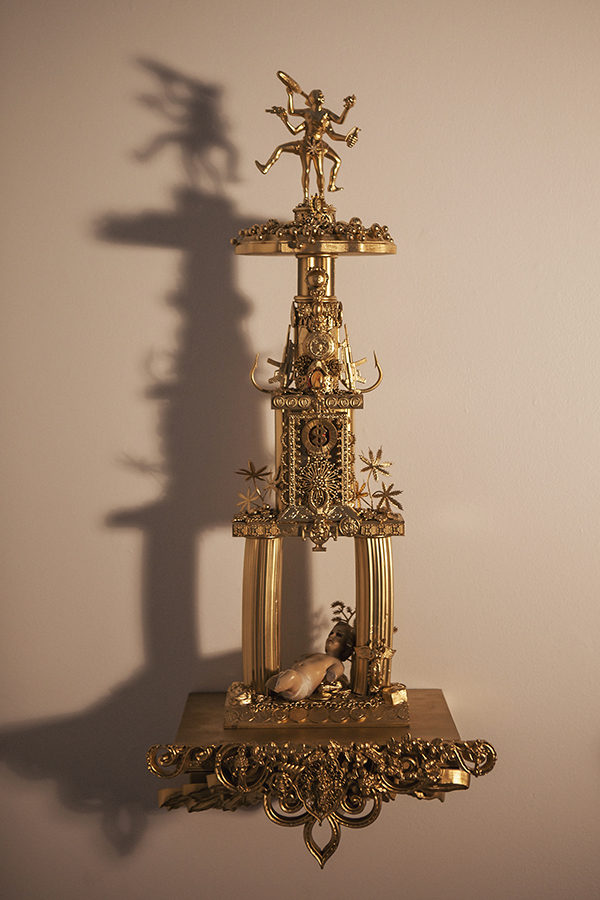 """""""Trophy #3 -- A Cryptic yet Precise Ritual of Confrontation Between the Designs of Good & Evil""""  28 1/2"""" x 7 1/2"""" w/o shelf, 33 1/2"""" x 14 1/2"""" w/shelf"""