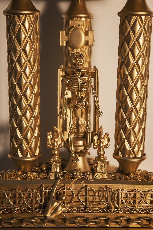 """Trophy #2 -- Immigration, Death, Cartel, Wealth, and Santa Muerte"" (detail)"