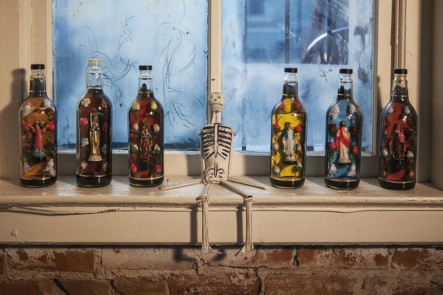 """""""Bottled Saints""""  """"Skeleton"""" (center)"""