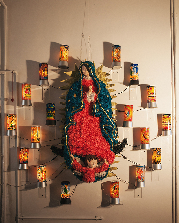 """""""Guadalupe and the Night Lights""""  Guadalupe 65"""" x 43""""  Night Lights 12"""" x 5""""  Installation 95"""" x 60"""""""
