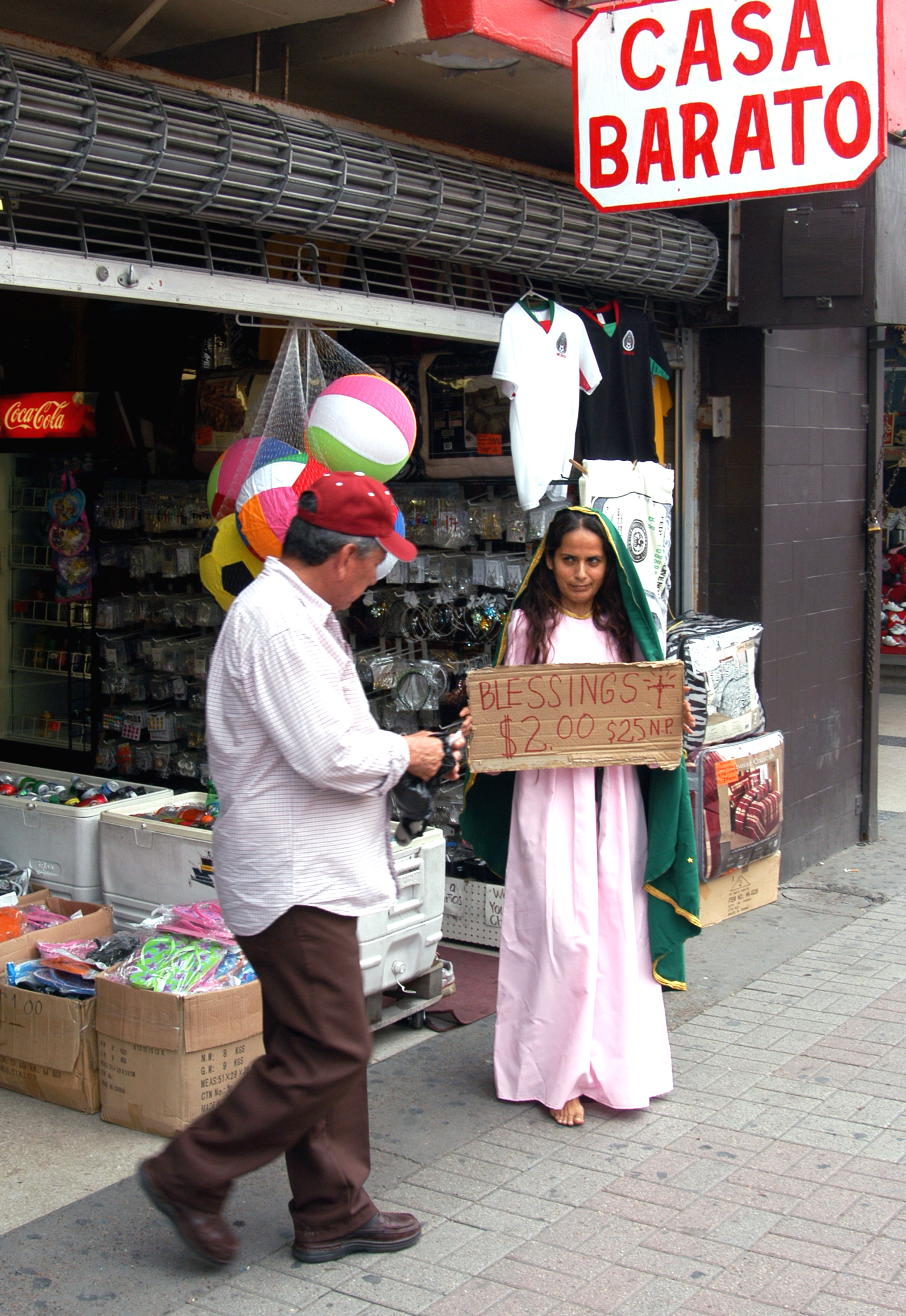 """""""Virgin Store Front Copy""""  Photograph of performance  2011"""