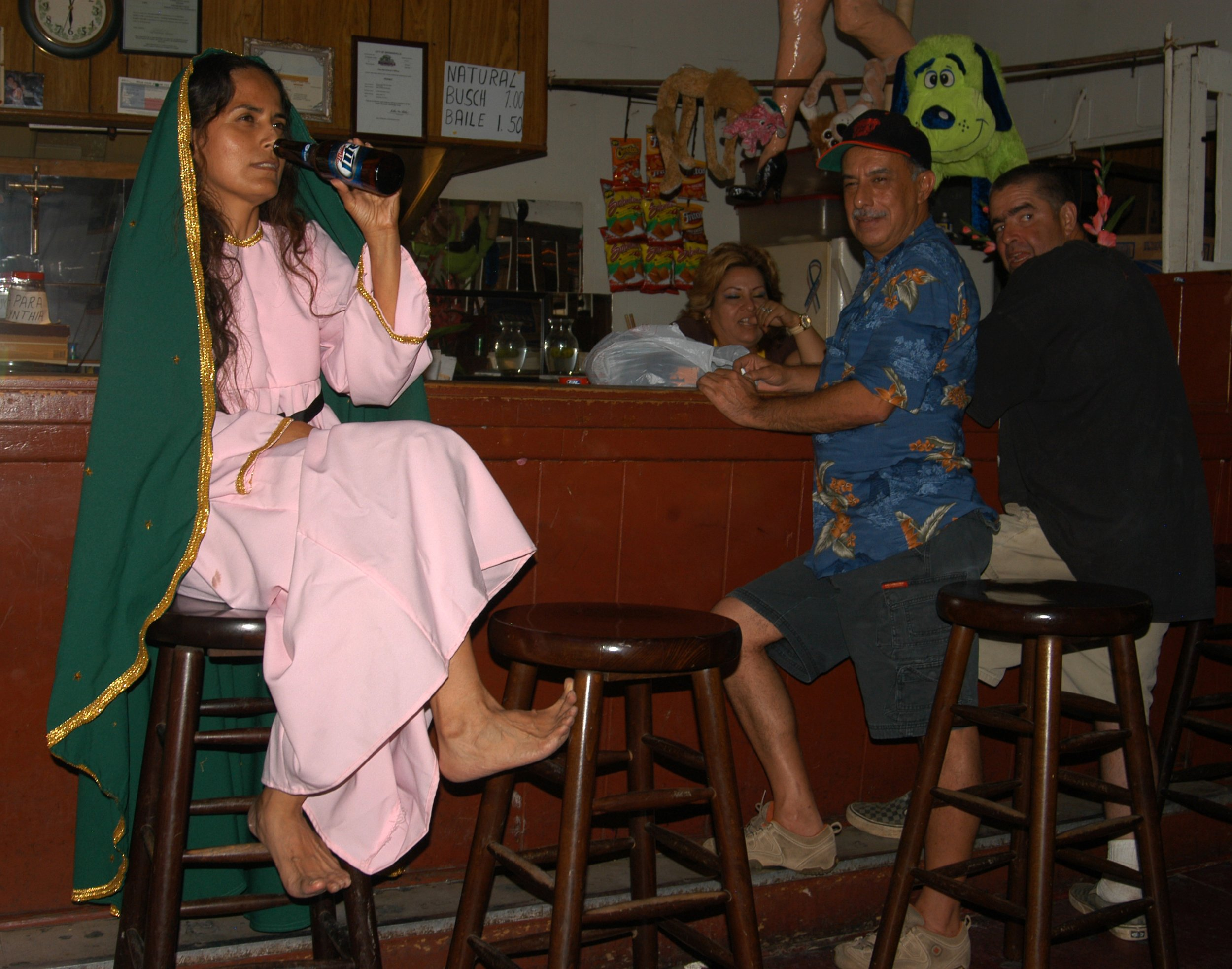 """""""Virgin with Beer""""  Photograph of performance  2011"""