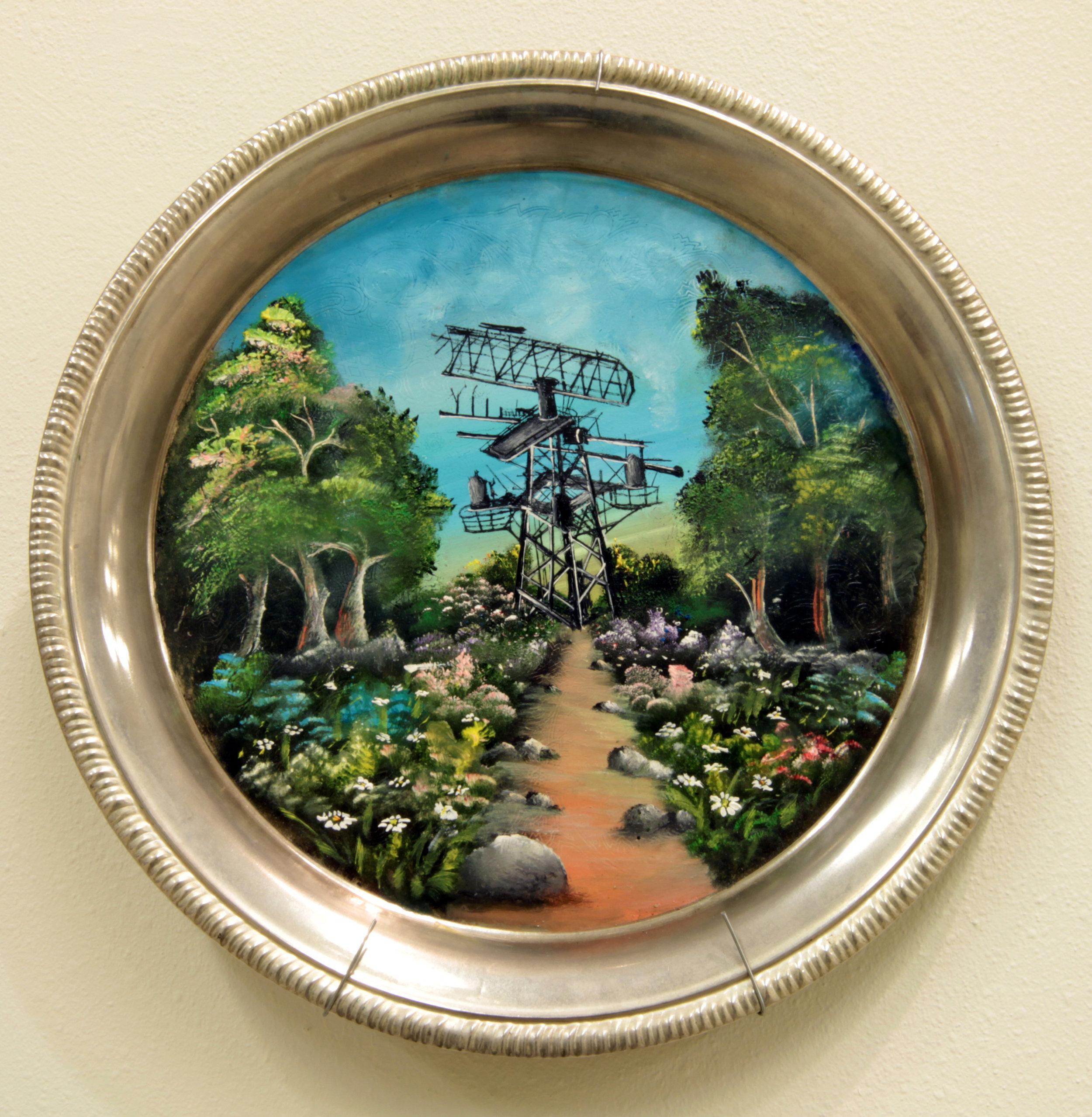 """Plate Satellite Landscape""  Oil paint on copper plate  Variable dimensions"