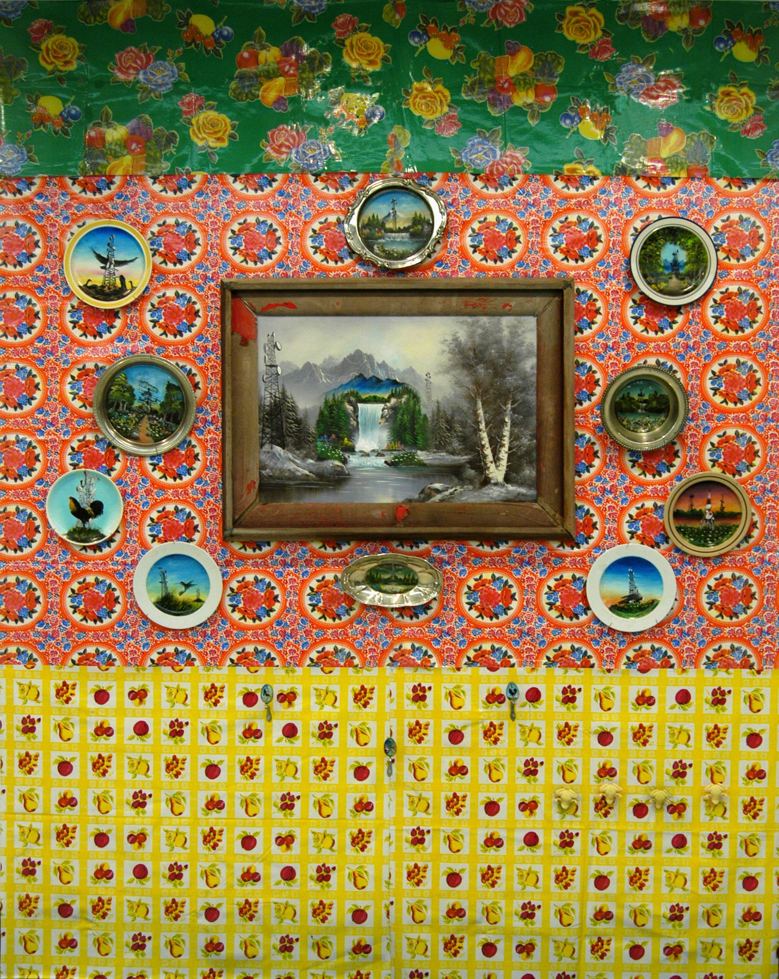 """Tablecloth and Plates Wall""  Mixed media  Variable dimension"