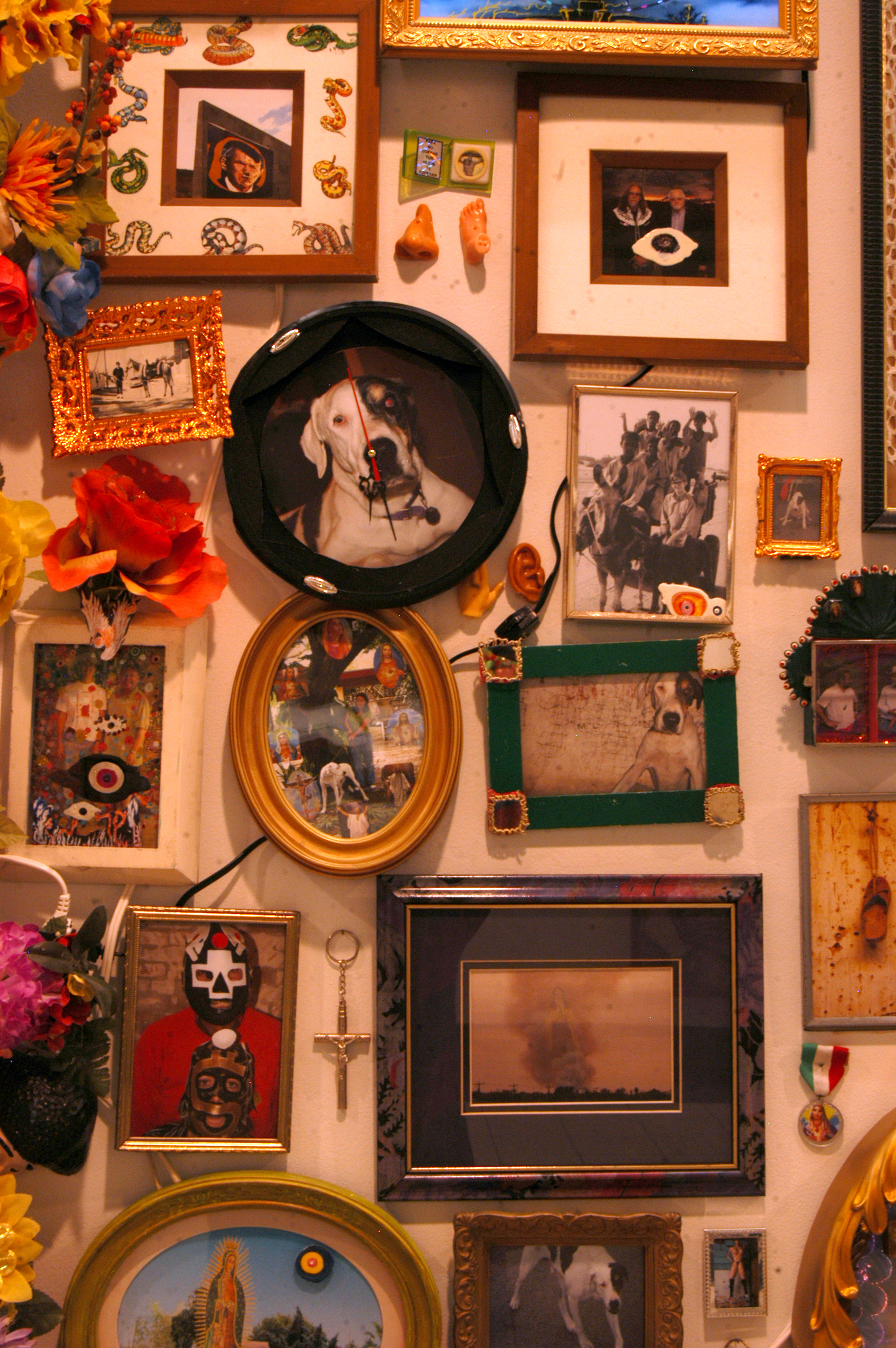 """""""Detail of The Wall""""  Mixed media, Recycled flowers from graveyards in Mexico  Variable dimension"""