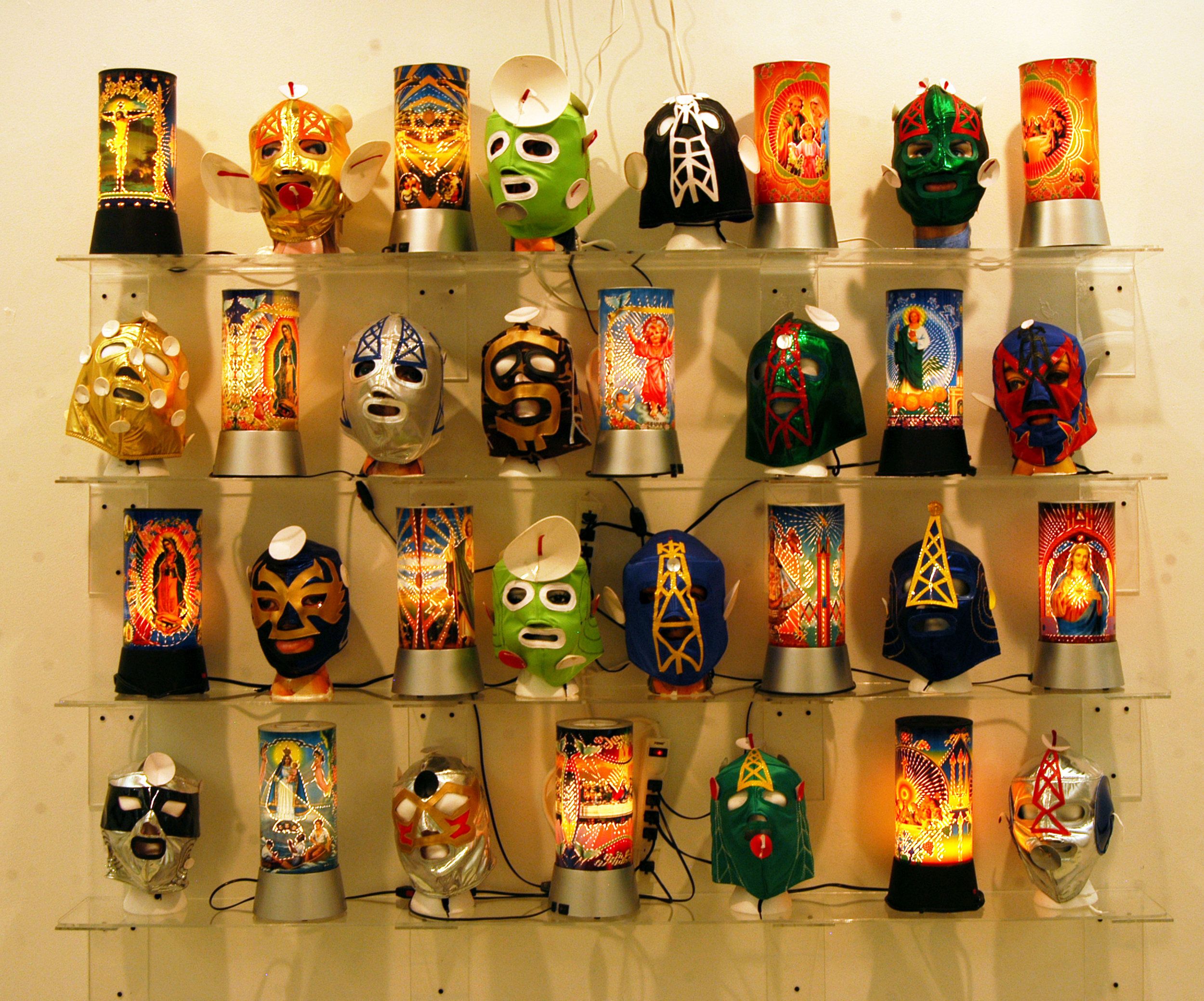 """""""Masks and Night Lights""""  Installation View  Variable dimensions"""