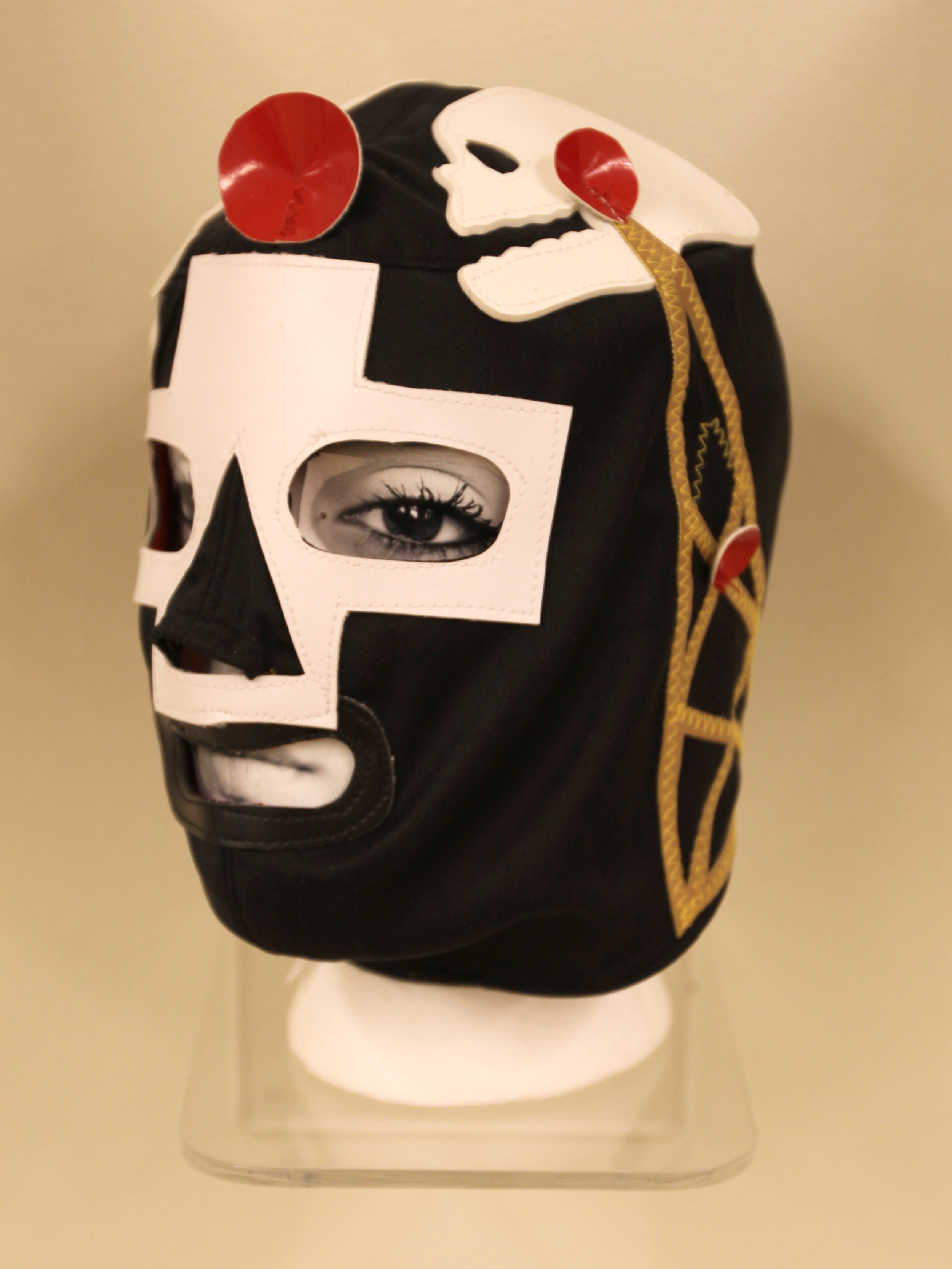 """Black and white Satellite Mask""  Mixed media"