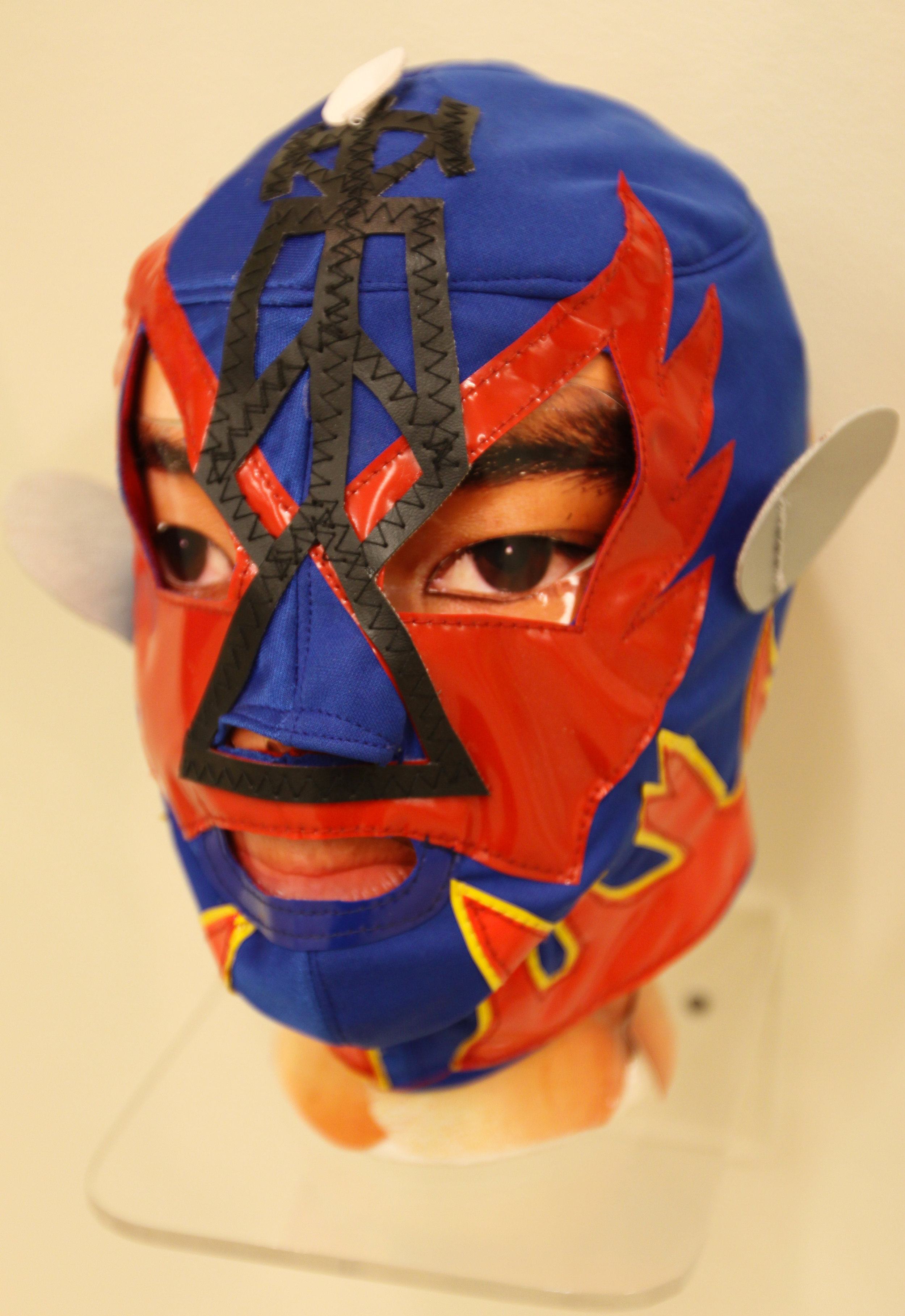 """""""Blue Red Flames Satellite Mask""""  Mixed media"""
