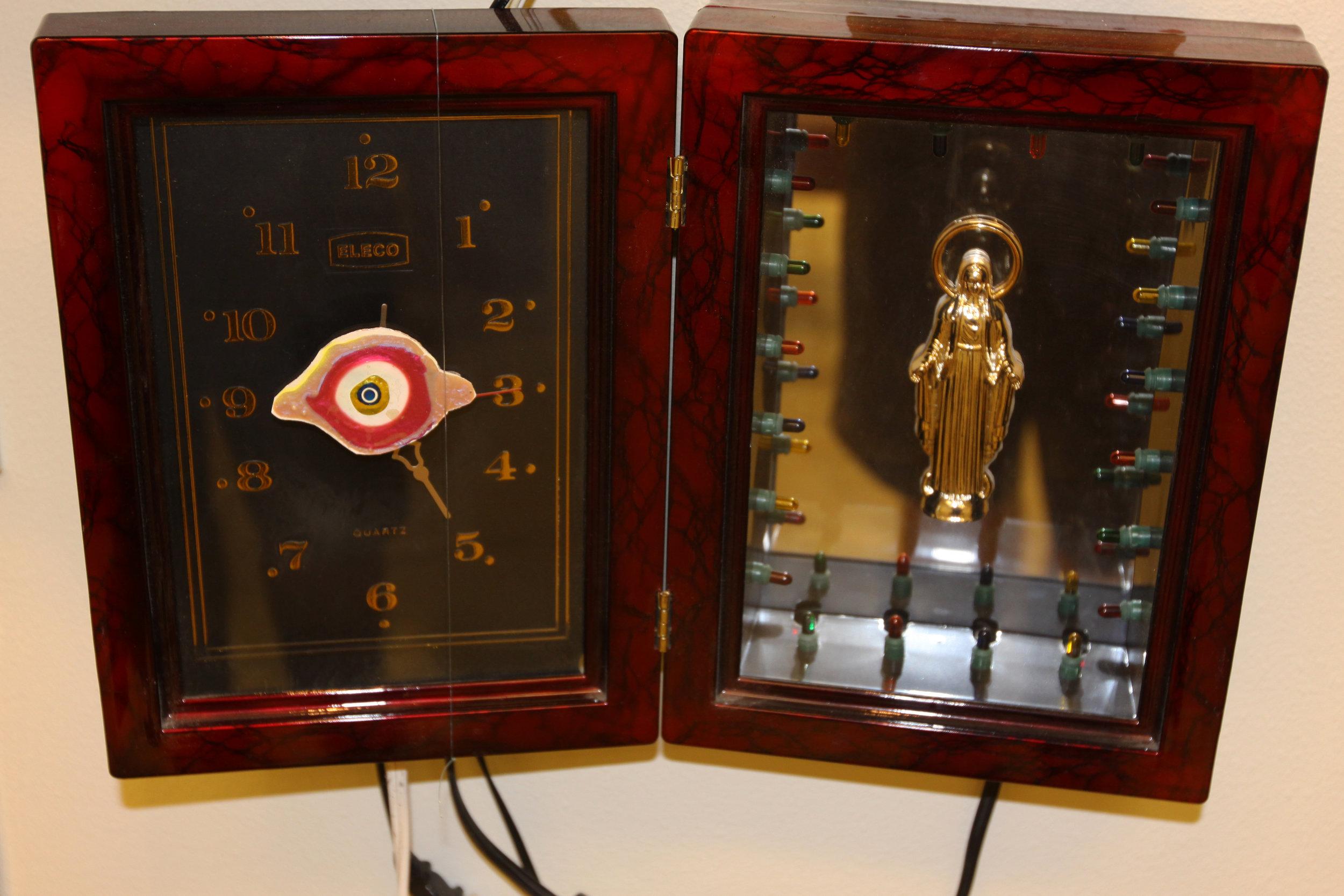 """Electric Clock and Lights Virgin""  Mixed media"