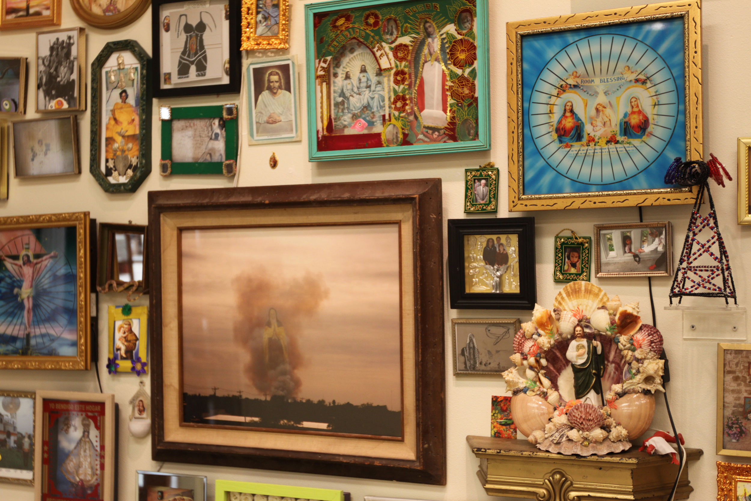"""""""Fire on Horizon and Virgin de Guadalupe""""  Installation view"""