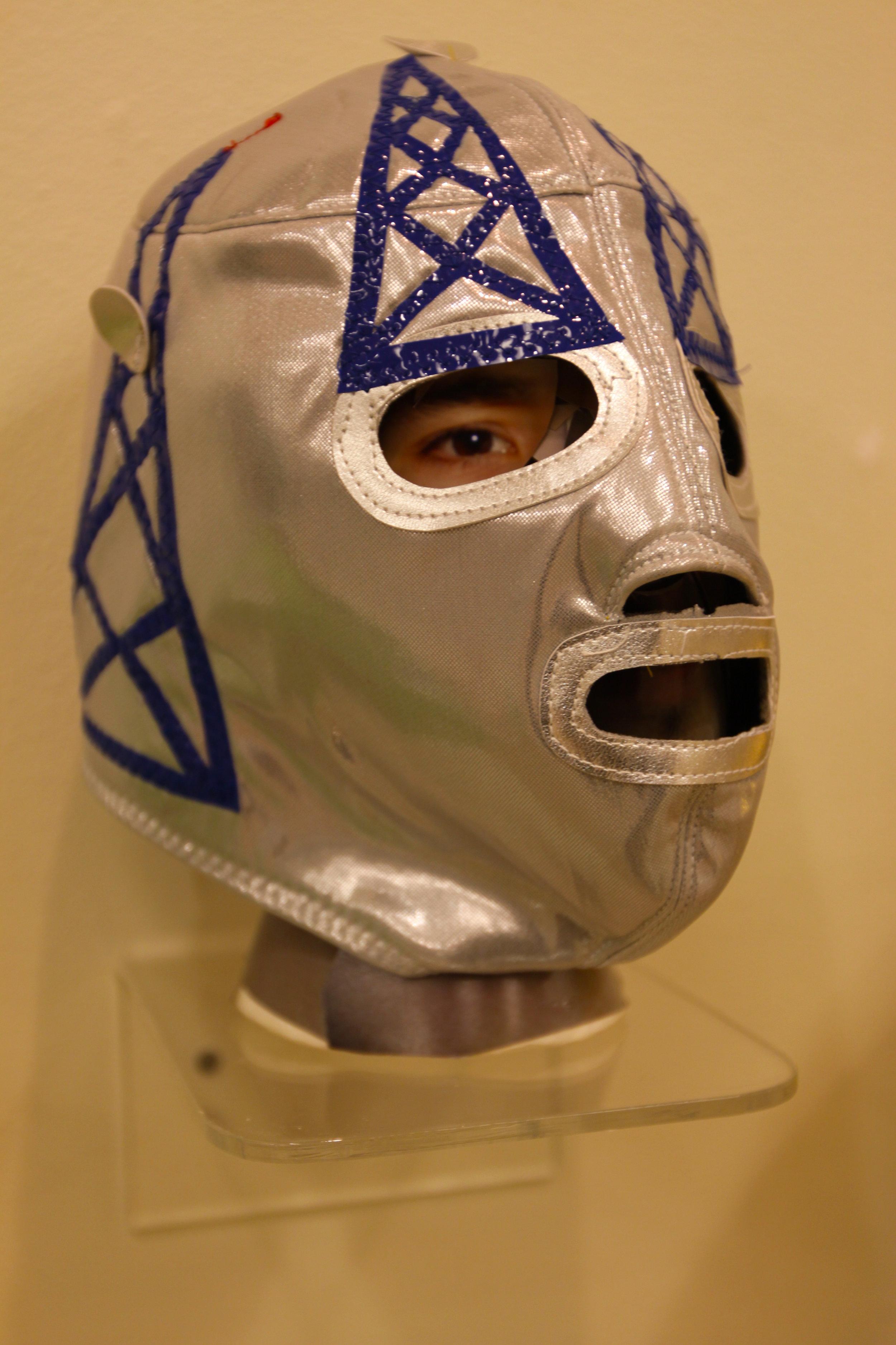 """Silver Blue Satellite Mask""  Mixed media"