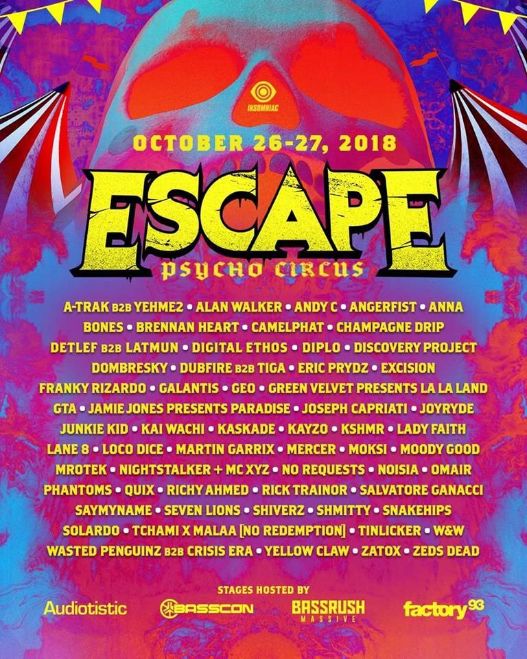 Escape Psycho Circus Lineup