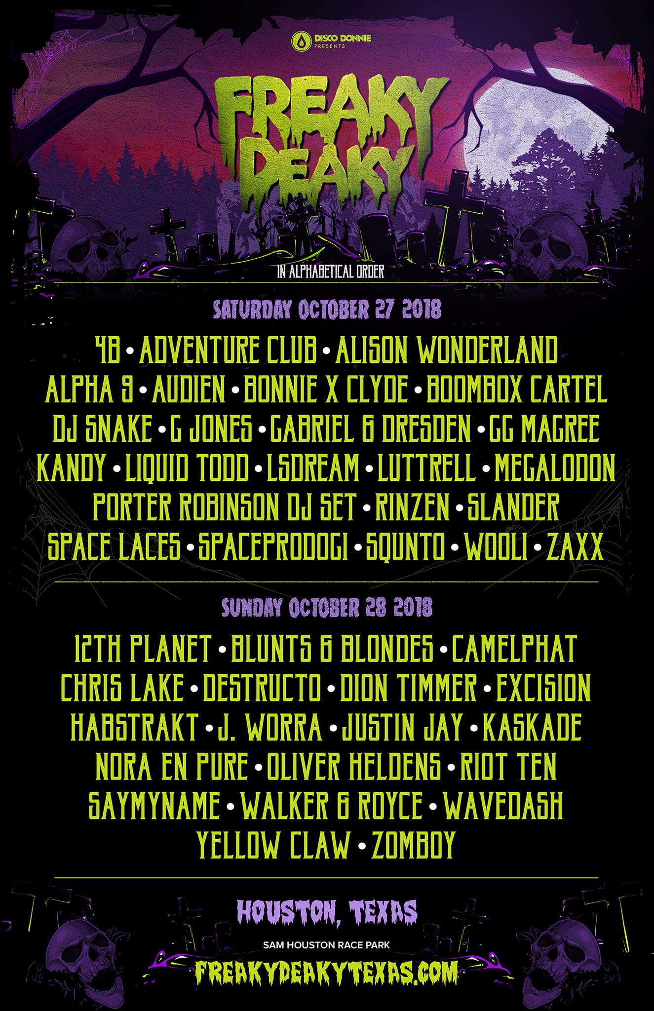 Freaky Deaky Halloween Lineup