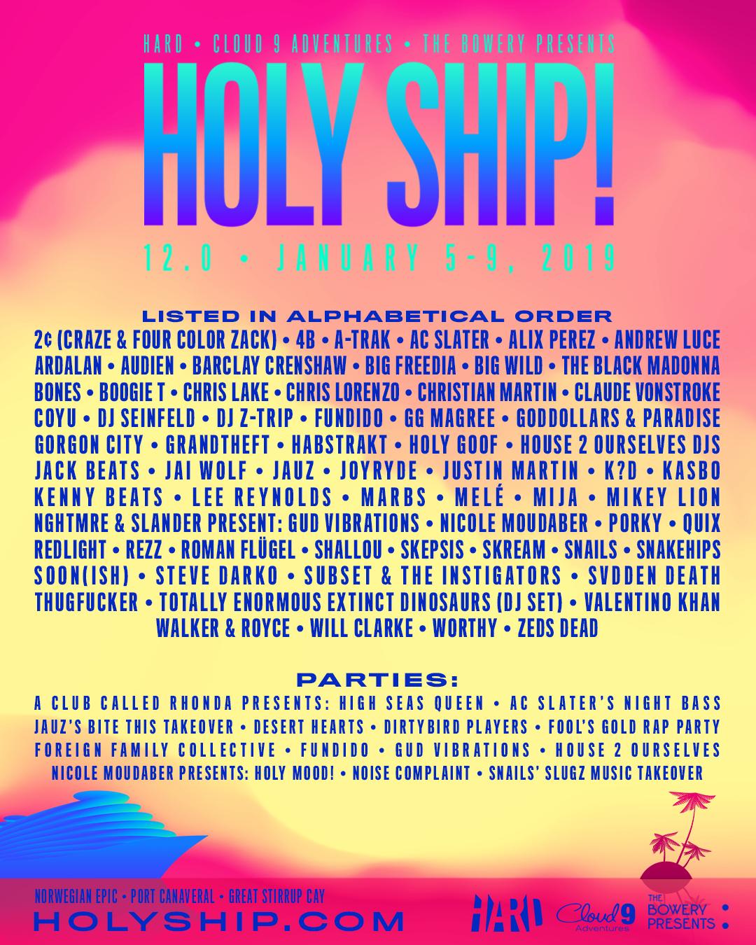 Holy Ship 12.0 Lineup