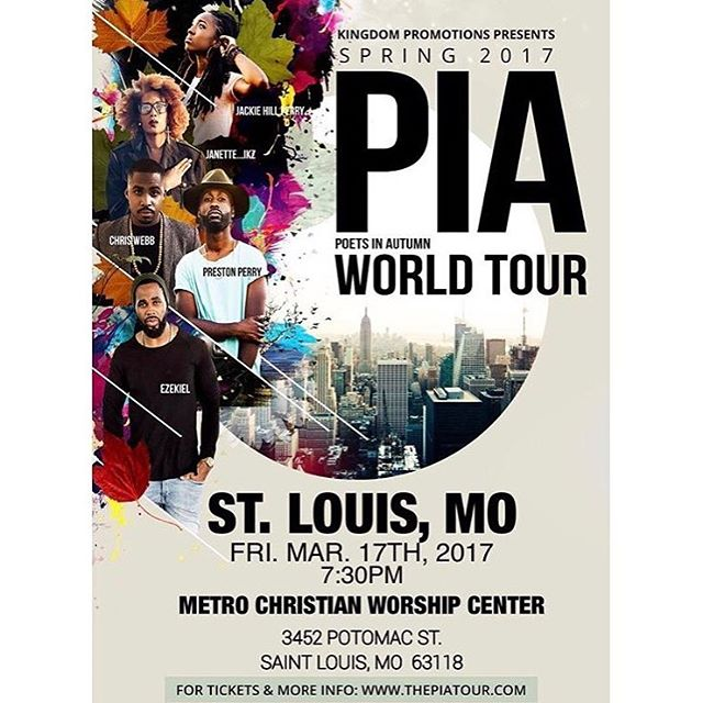 St. Louis!! I'll see you this weekend! #piaworldtour