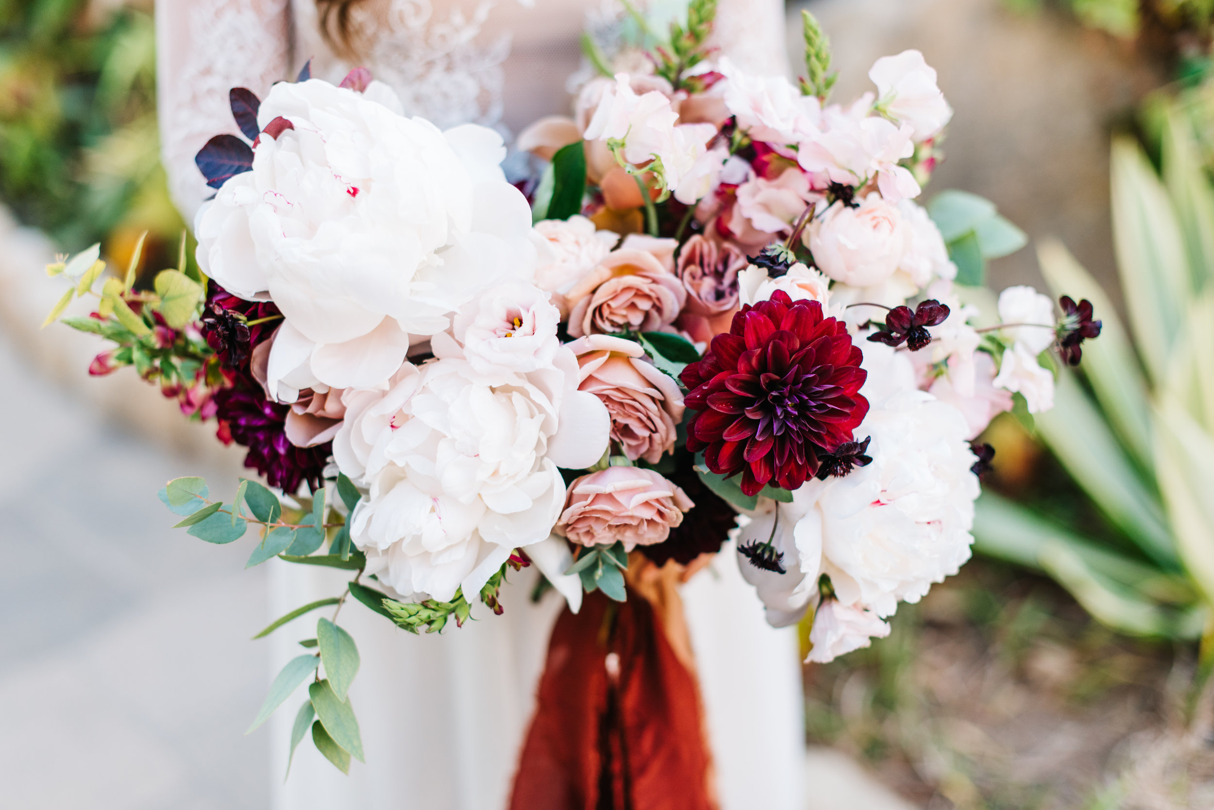 Blush Burgundy White Wedding, Bridal Bouquet, Santa Barbara Florist, El Encanto Wedding.