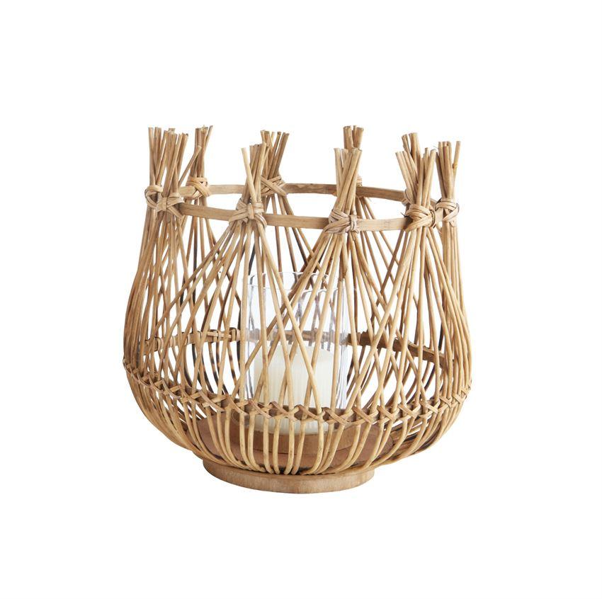 "Bamboo & Glass Lantern 12""  2 Available / $25 ea."