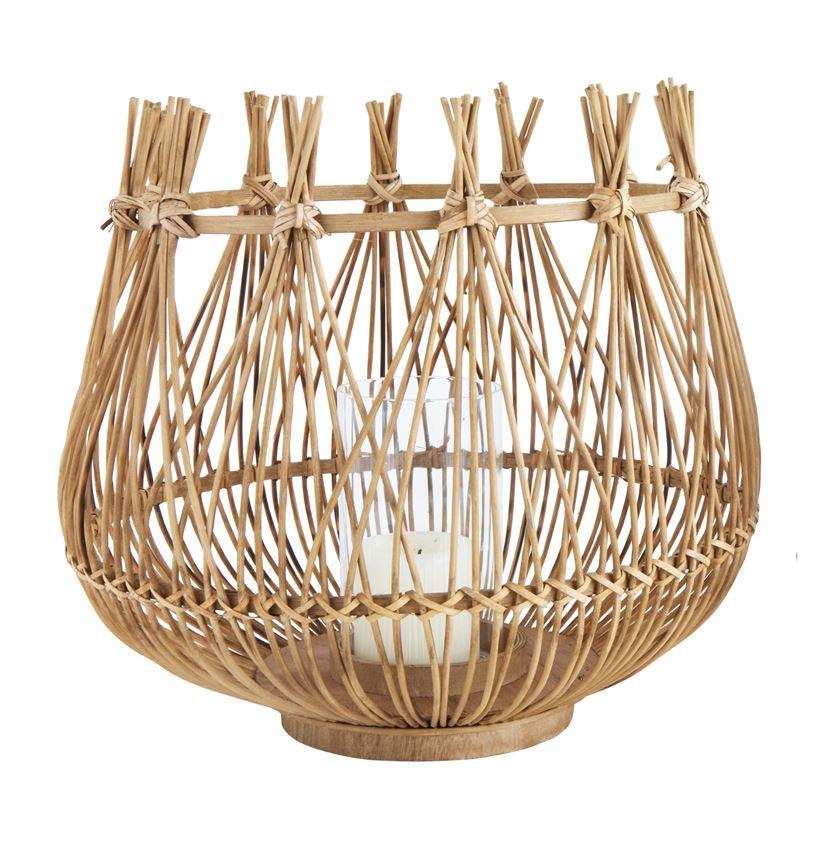 "Bamboo & Glass Lantern 16""  2 Available / $35 ea."