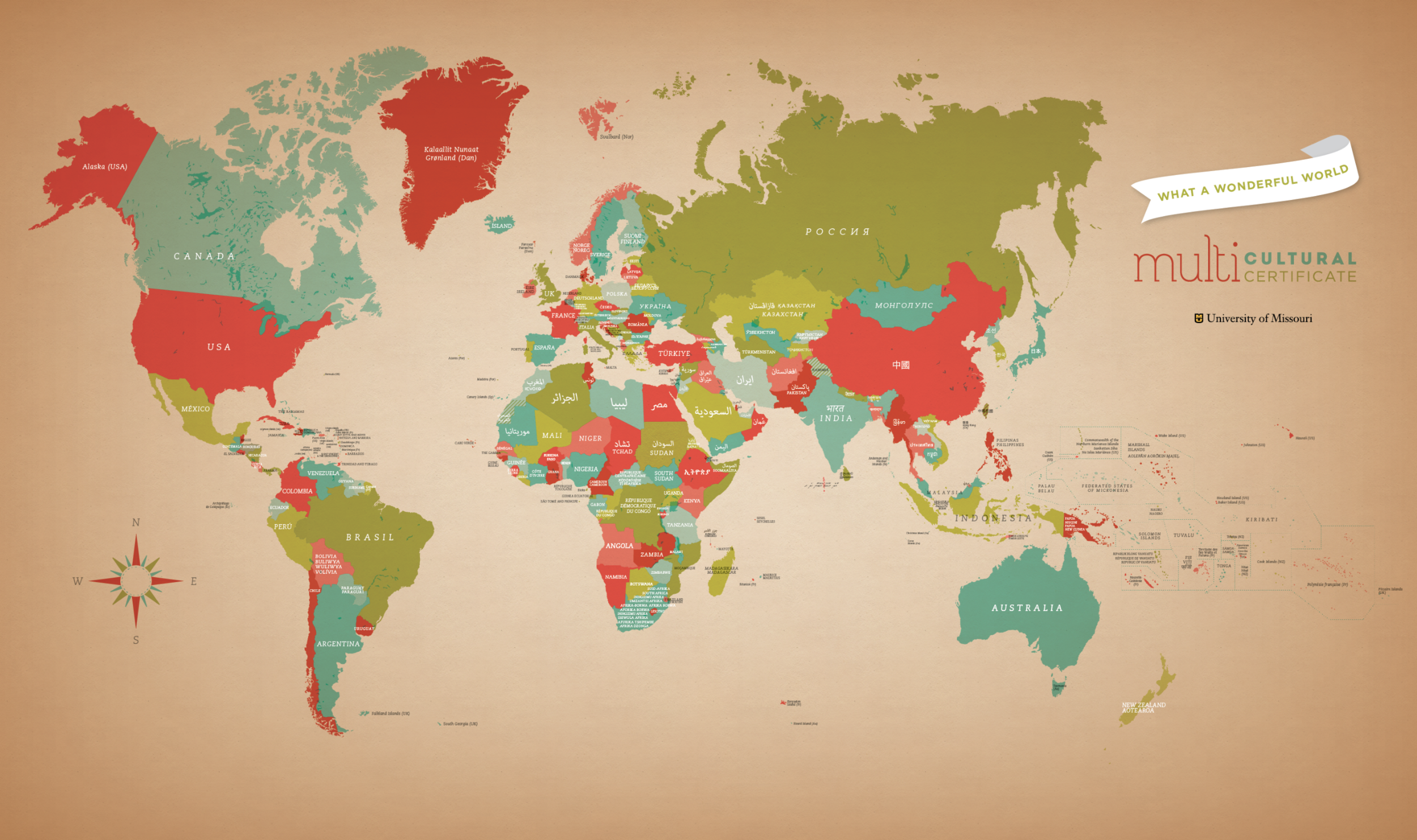 World map in endonyms – the official languages within each country | Avery Enderle Wagner